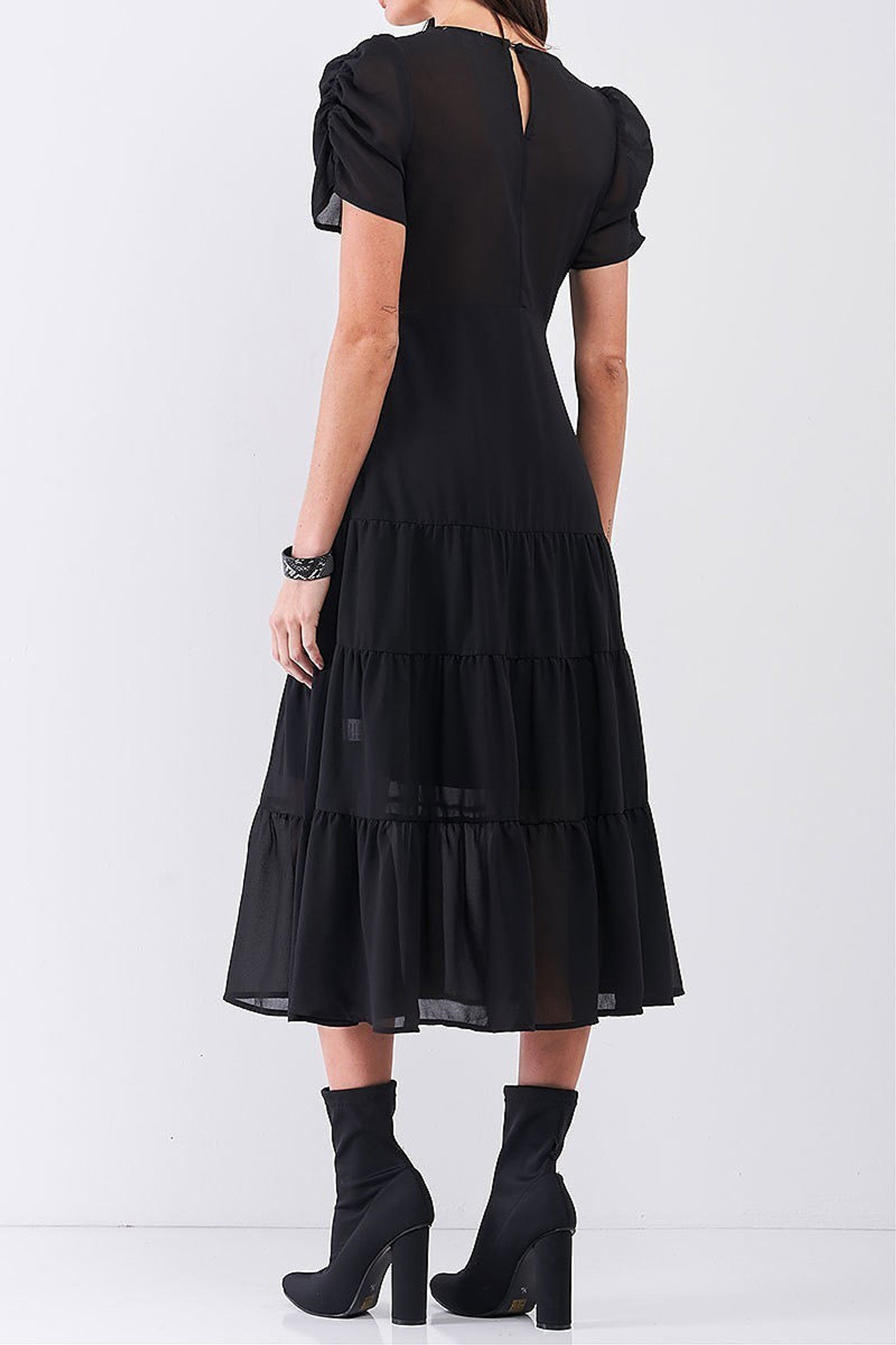 Ruched Puff Sleeve Tiered Hem V-Neck Midi Dress