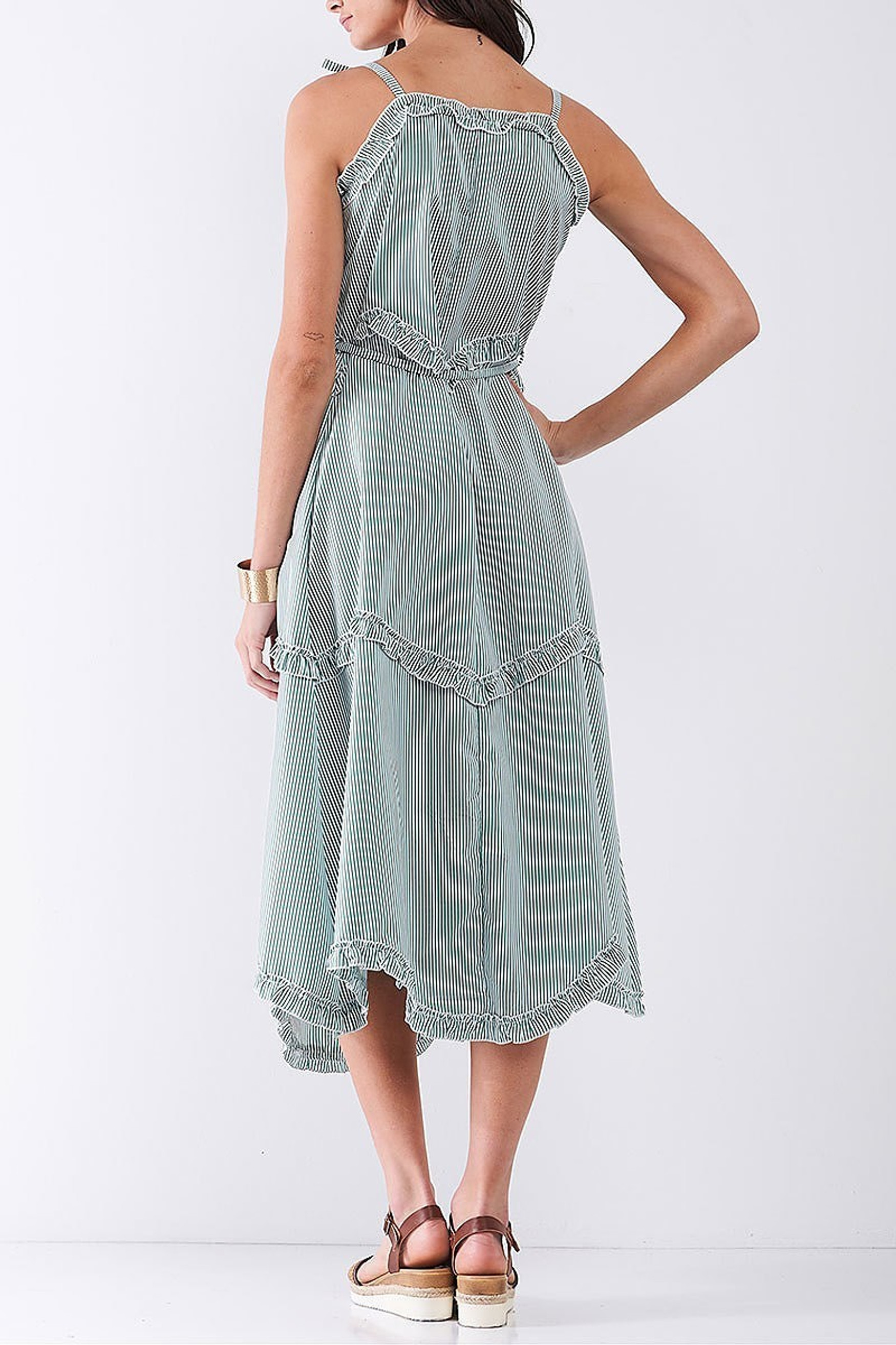 Green Ruffle Accent Striped Tie String Wavy Hem Rayon Midi Dress