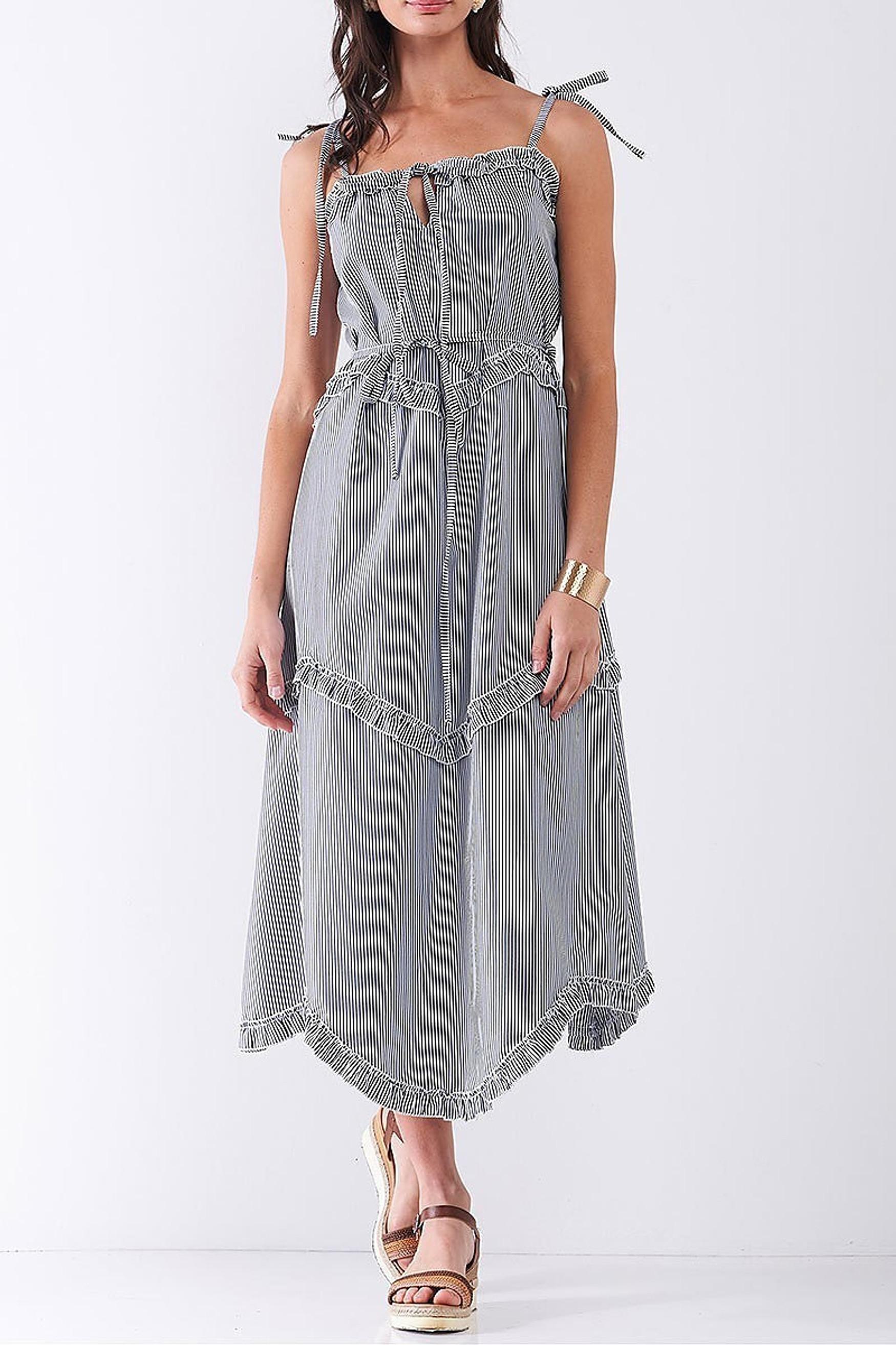 Navy Ruffle Accent Striped Tie String Wavy Hem Rayon Midi Dress