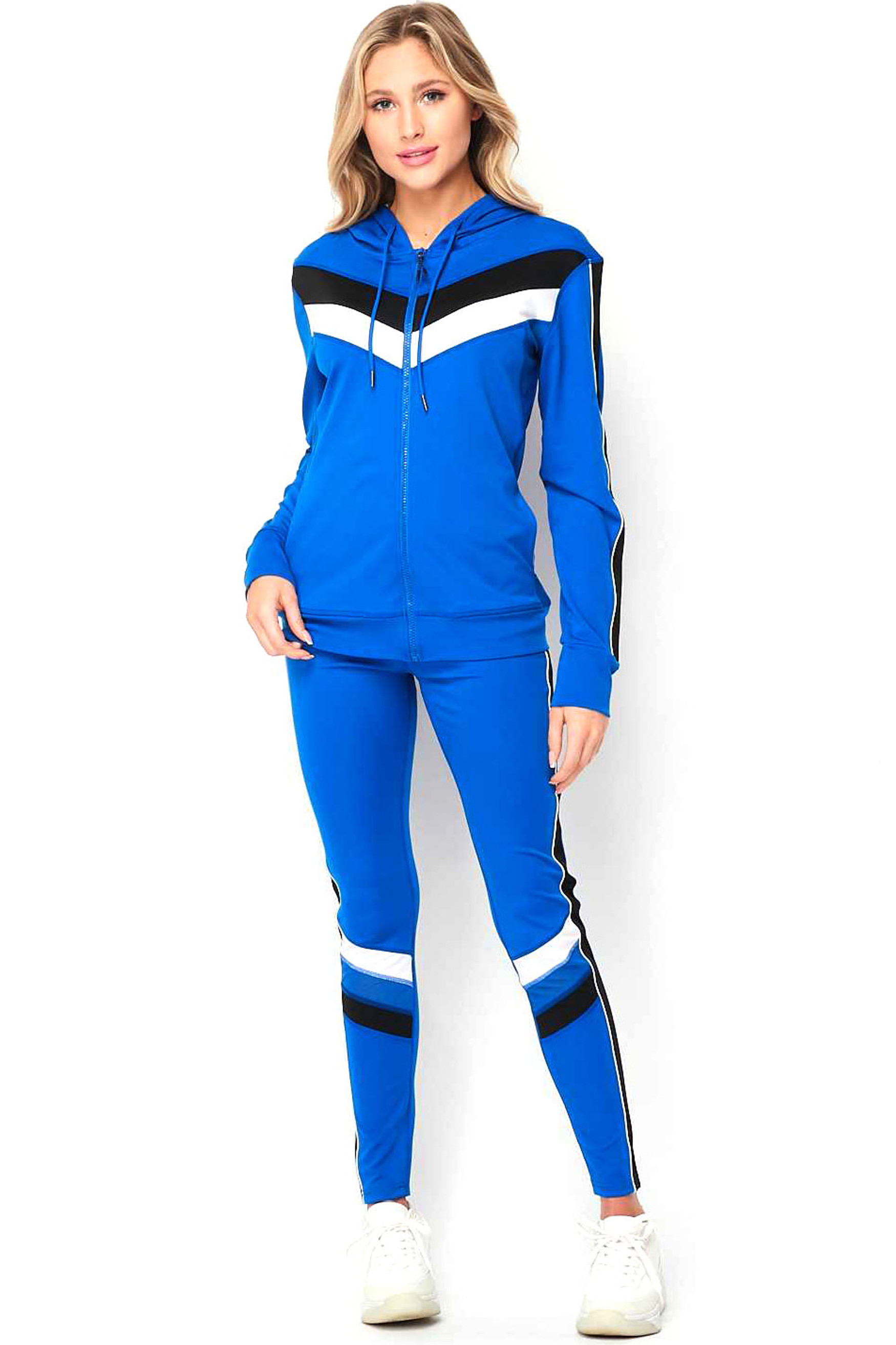 Tri Color 3 Piece Leggings Crop Top and Hoodie Jacket Set