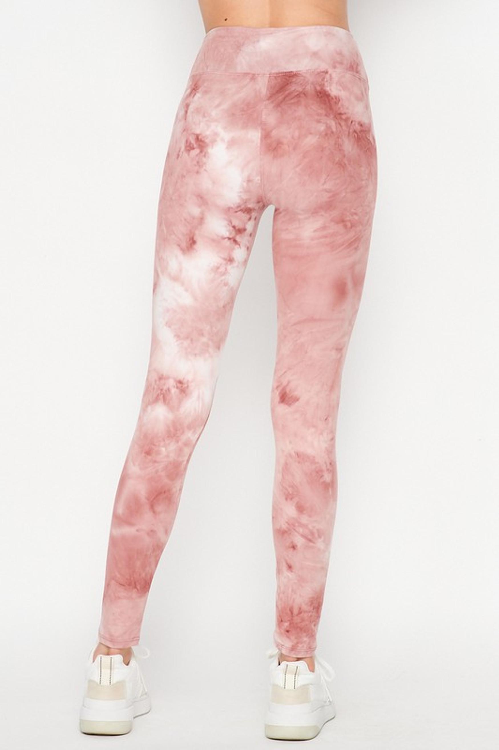 Back Mauve Buttery Soft Tie Dye High Waisted Leggings