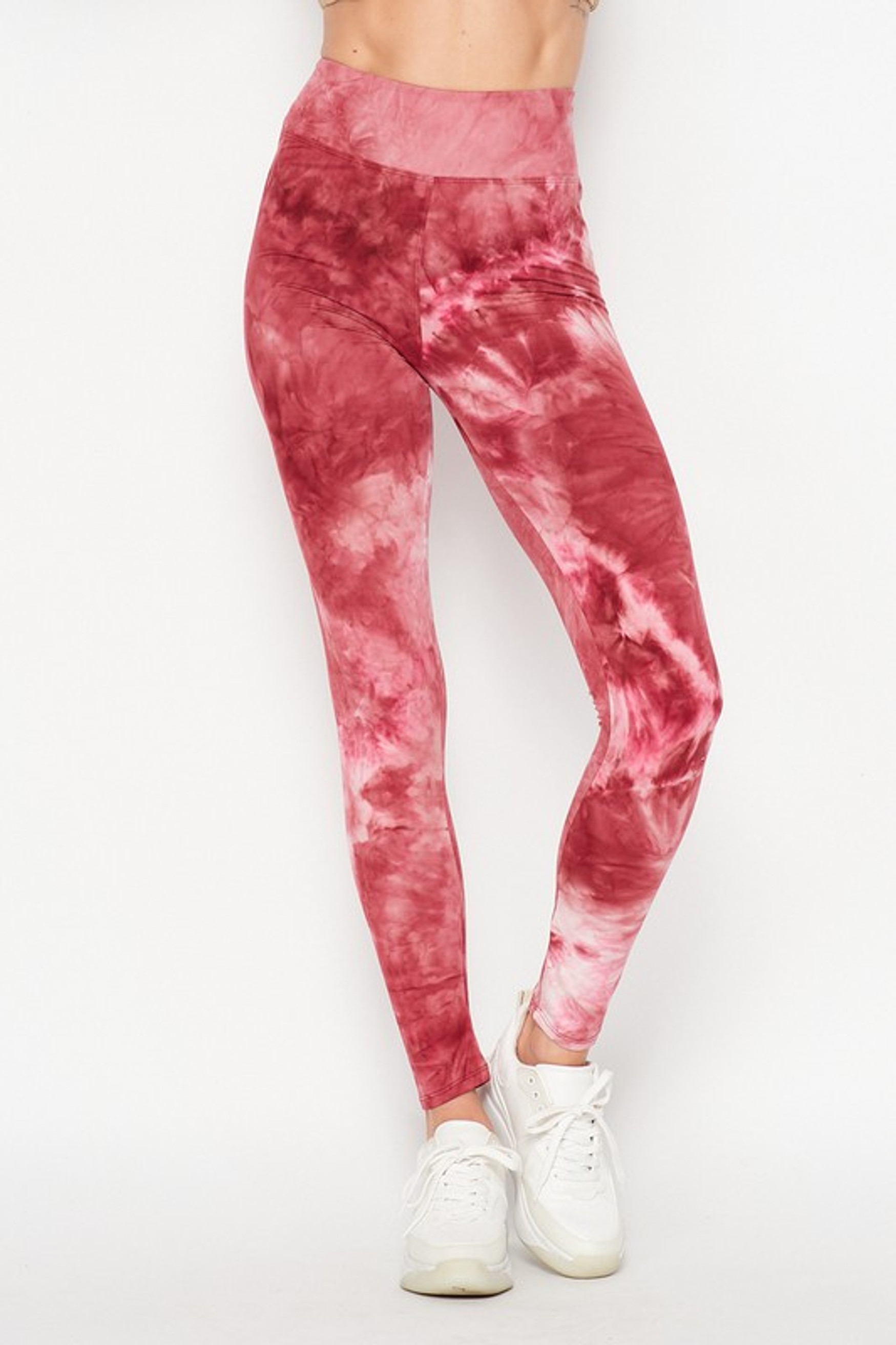 Front of Burgundy Buttery Soft Tie Dye High Waisted Leggings