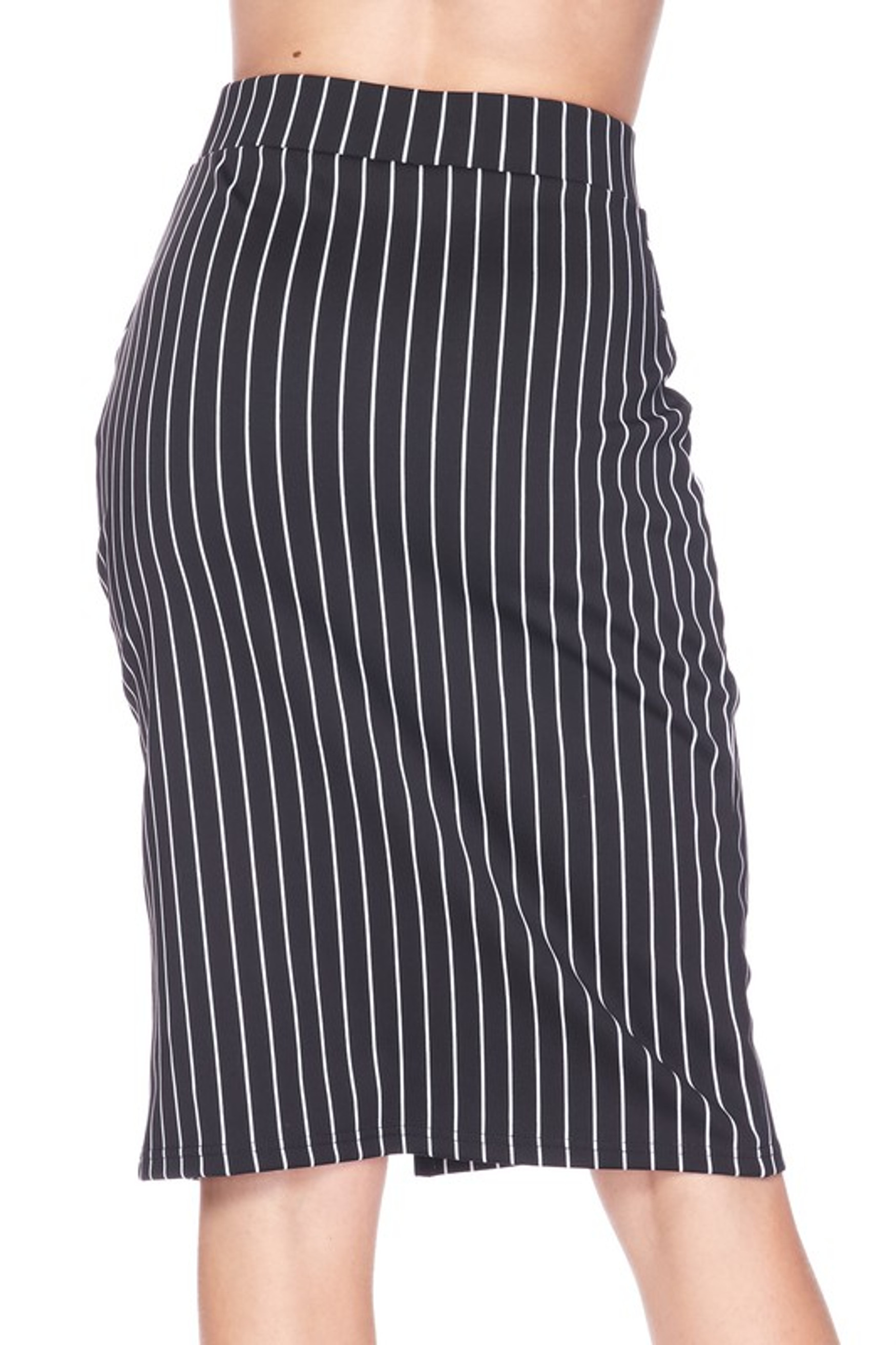 Silky Soft Scuba Black and White Pinstripe Plus Size Pencil Skirt with Front Slit