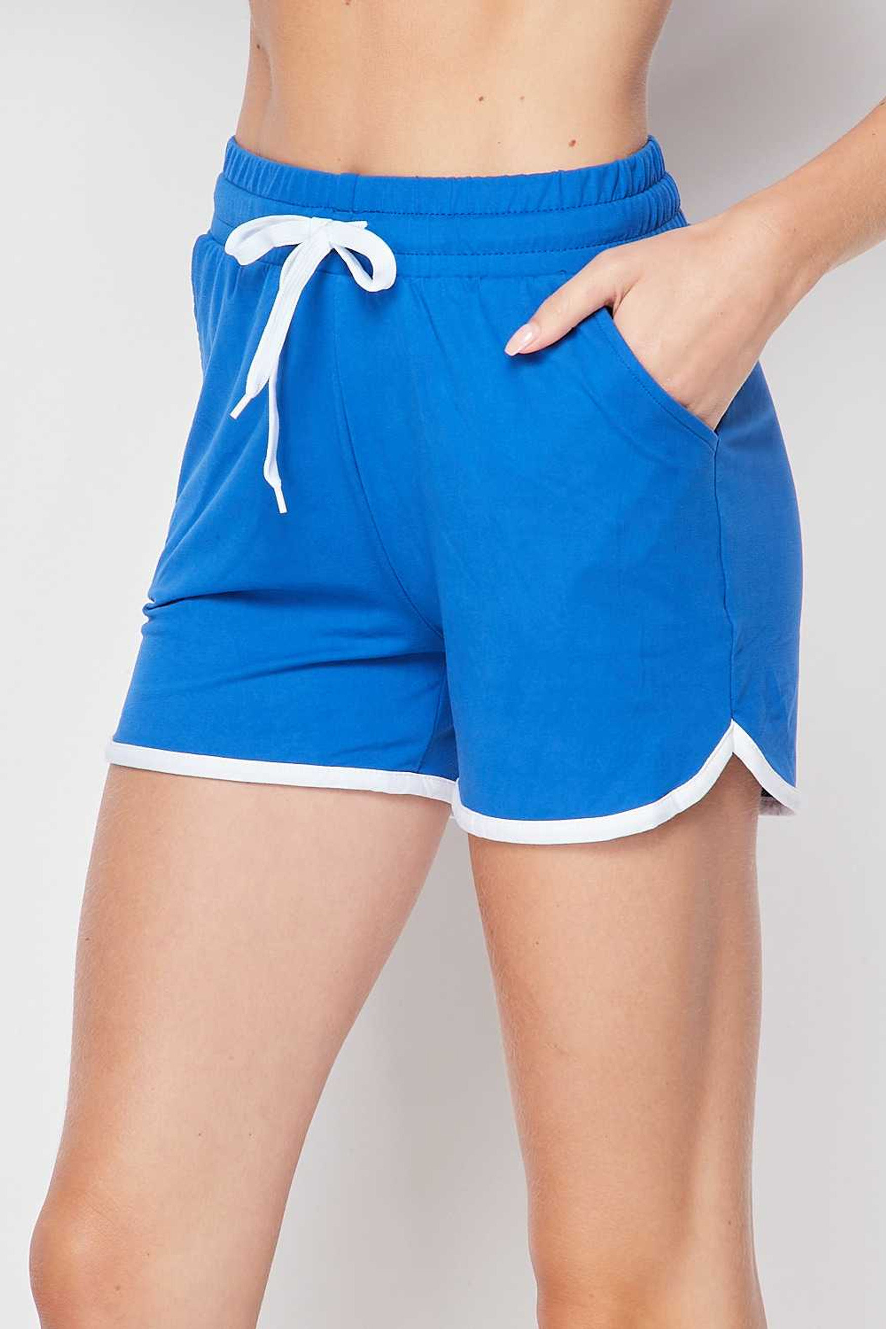Left side of Royal Blue Buttery Soft Drawstring Waist Plus Size Dolphin Shorts with Pockets
