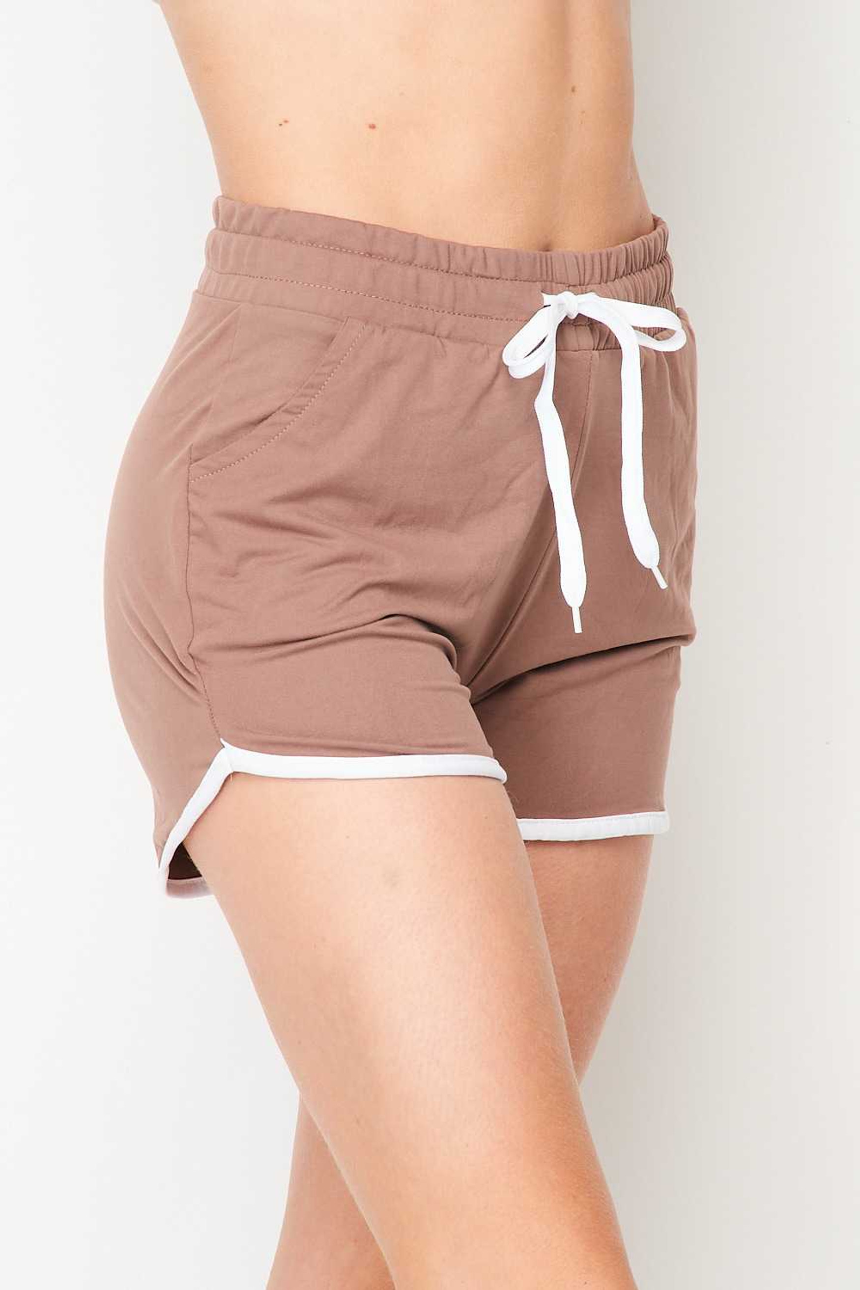 Right side of Mocha Buttery Soft Drawstring Waist Dolphin Shorts with Pockets