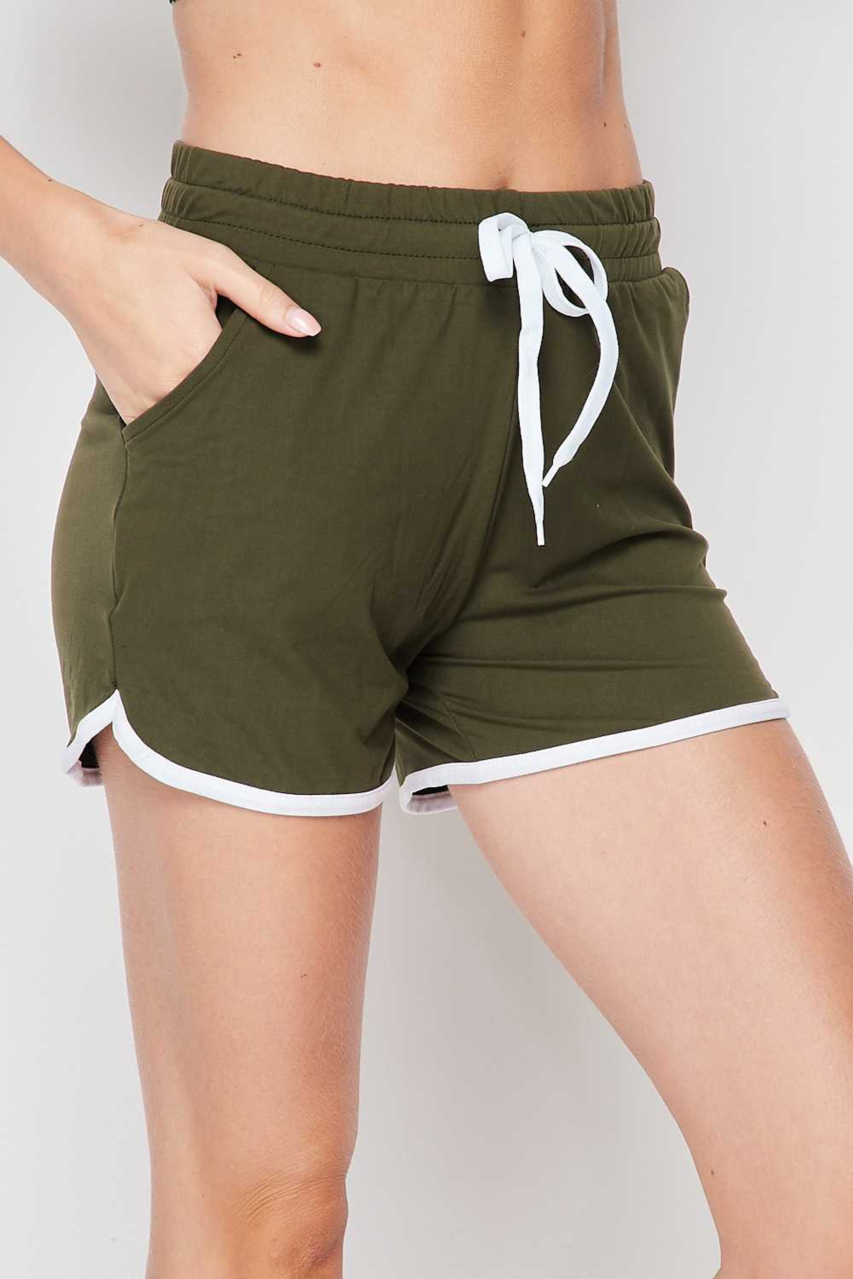 Right side of Olive Buttery Soft Drawstring Waist Dolphin Shorts with Pockets