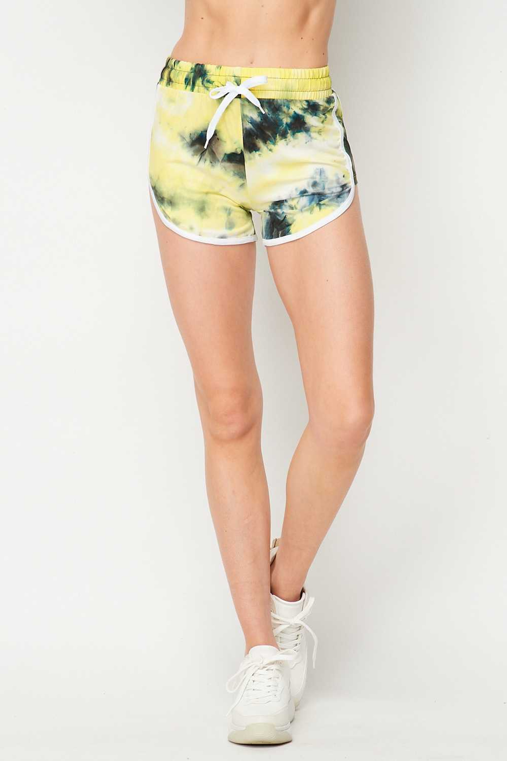 Buttery Soft Yellow Tie Dye Side Striped Drawstring Waist Dolphin Shorts