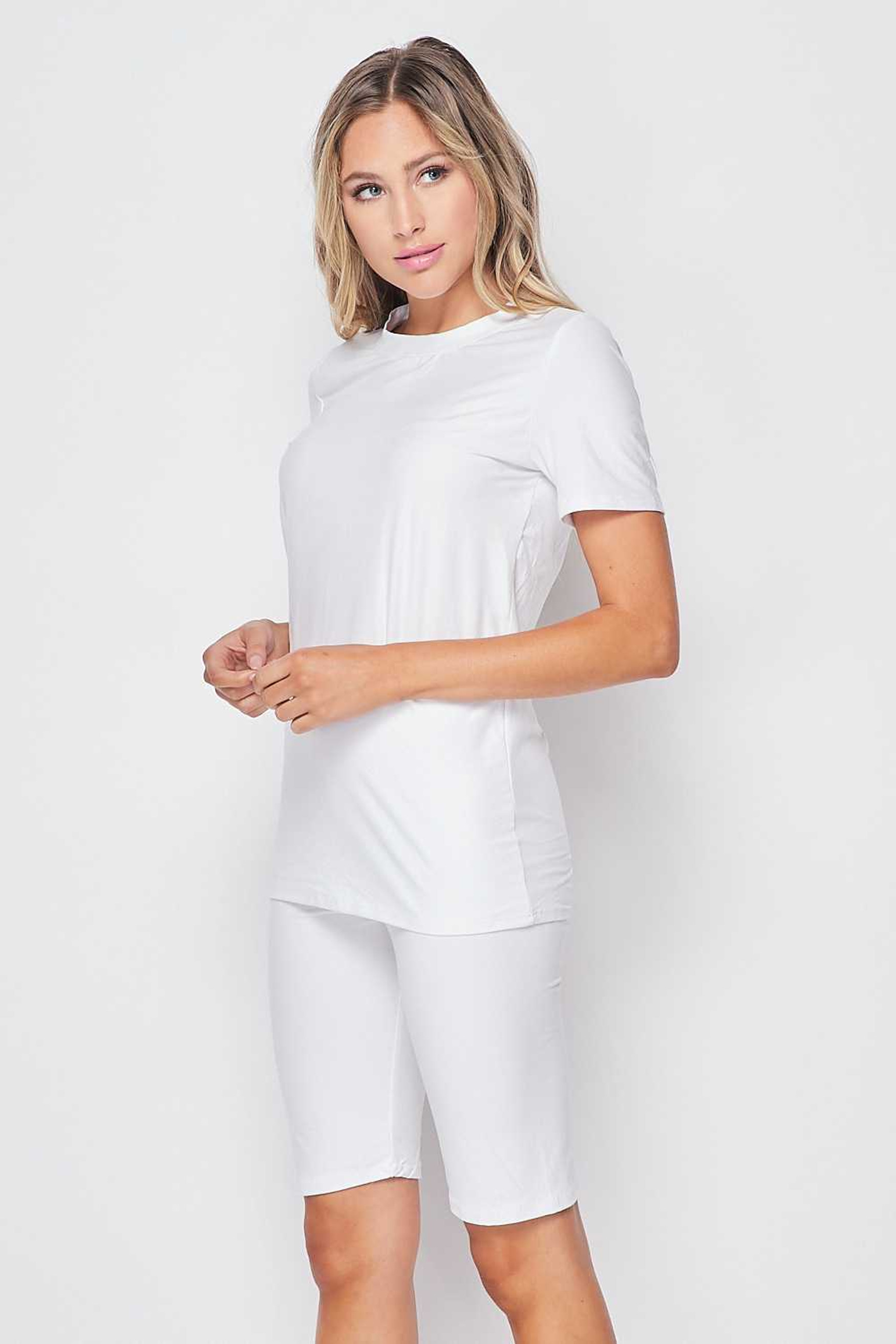 Left side of White Buttery Soft Basic Solid Biker Shorts and T-Shirt Set
