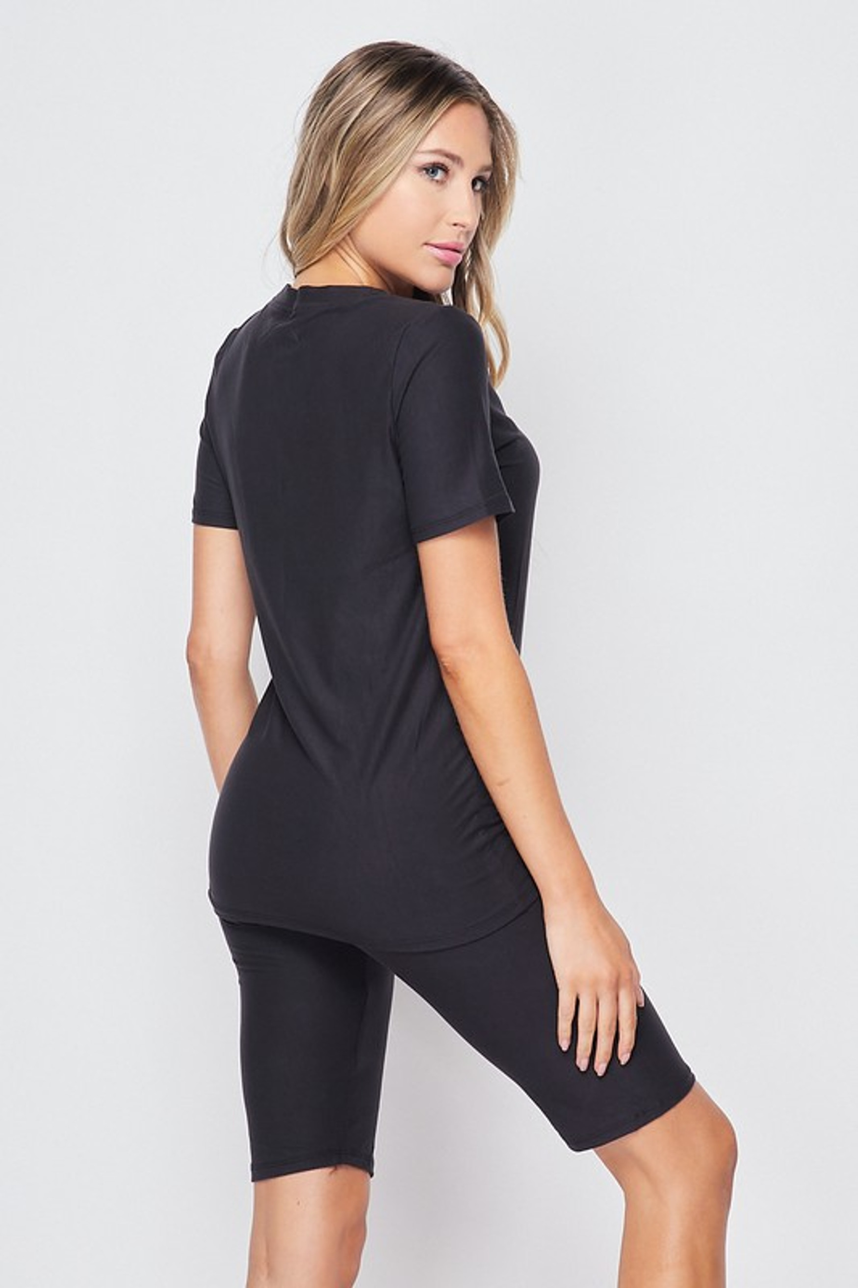 45 degree back right view of Charcoal Buttery Soft Basic Solid Biker Shorts and T-Shirt Set