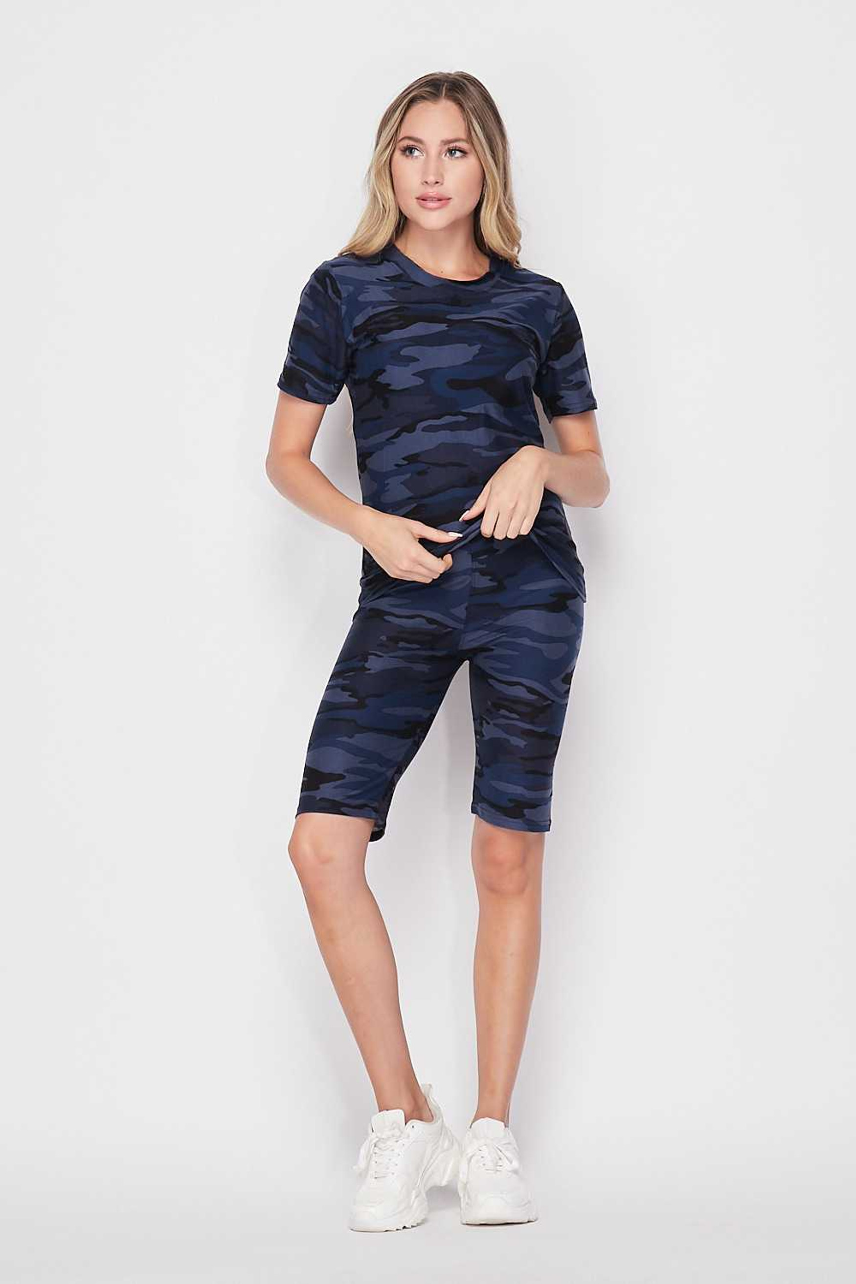 2 Piece Buttery Soft Navy Camouflage Biker Shorts and T-Shirt Set