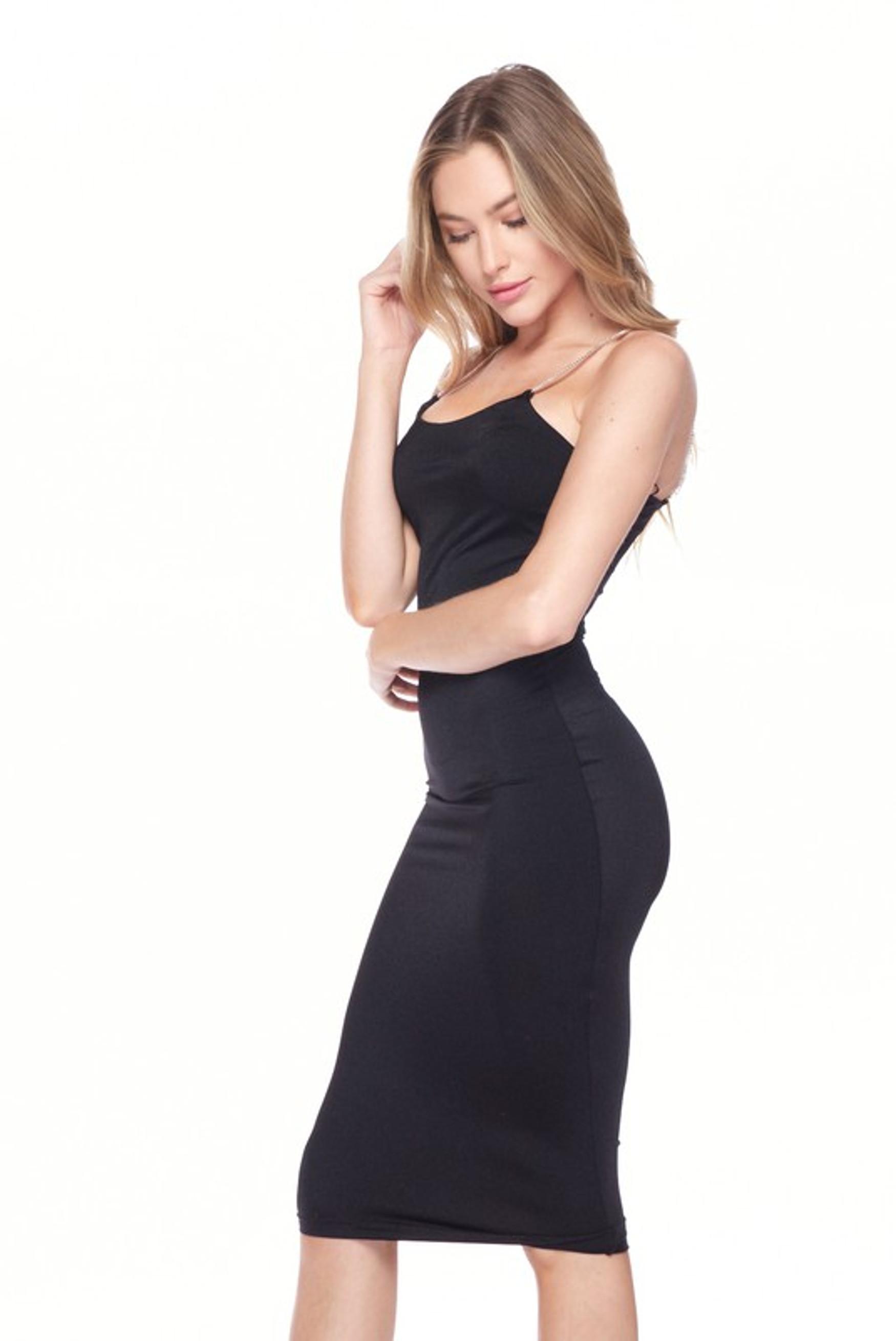 Black Crystal Spaghetti Strap Satin Bodycon Midi Dress
