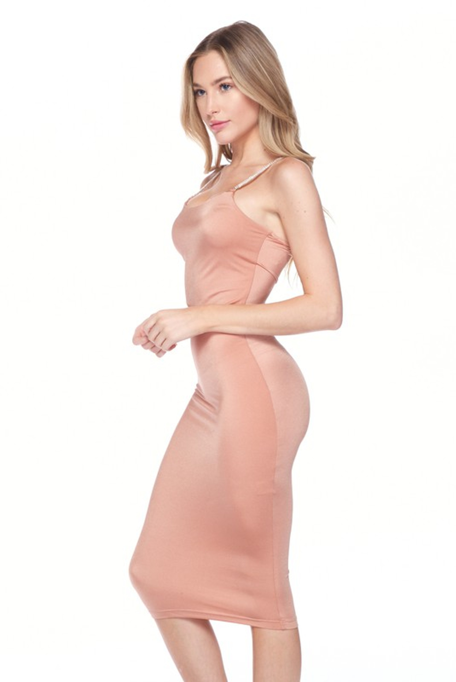 Salmon Crystal Spaghetti Strap Satin Bodycon Midi Dress
