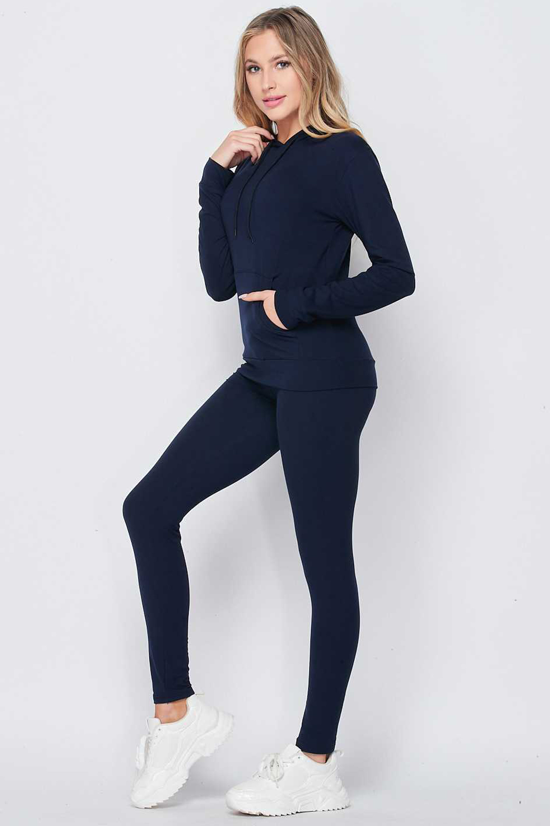 Solid 2 Piece Buttery Soft Leggings and Pullover Hoodie Set