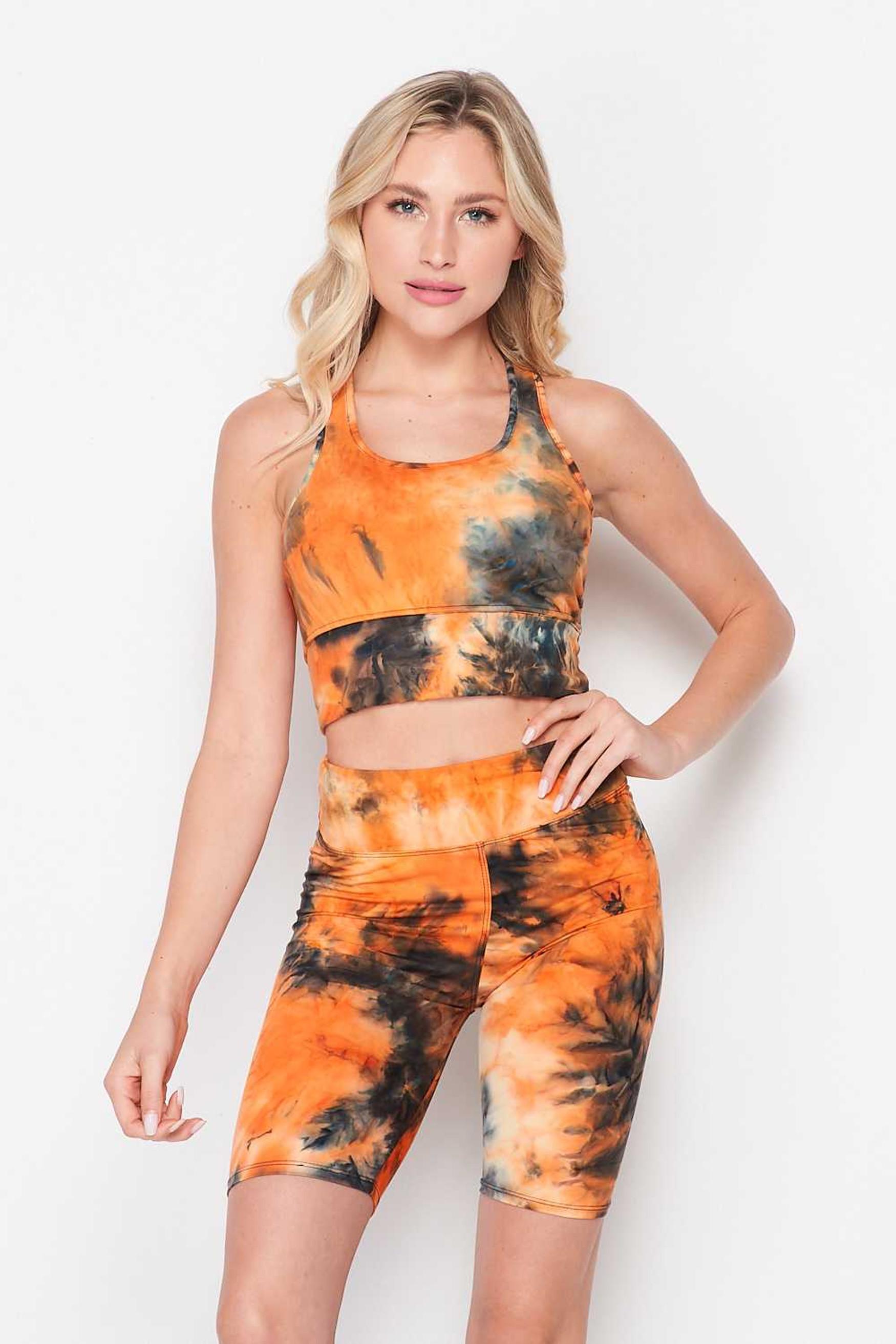 Orange Tie Dye 2 Piece High Waisted Biker Shorts and Crop Top Set