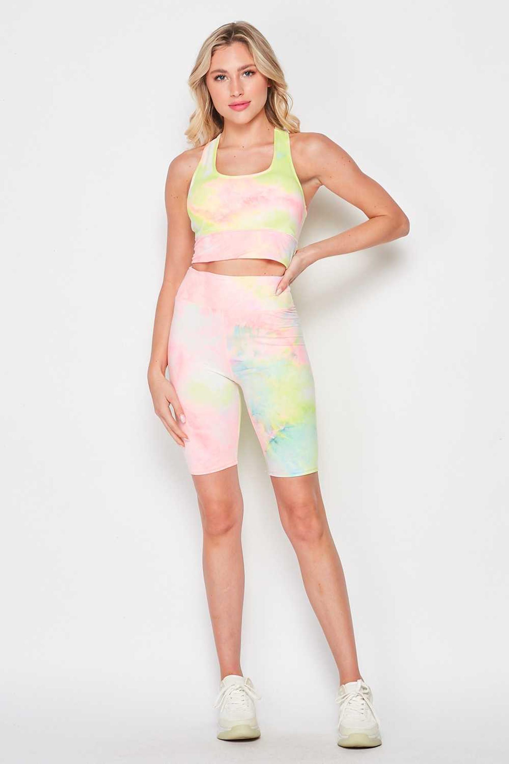 Pink / Yellow Tie Dye 2 Piece High Waisted Biker Shorts and Crop Top Set