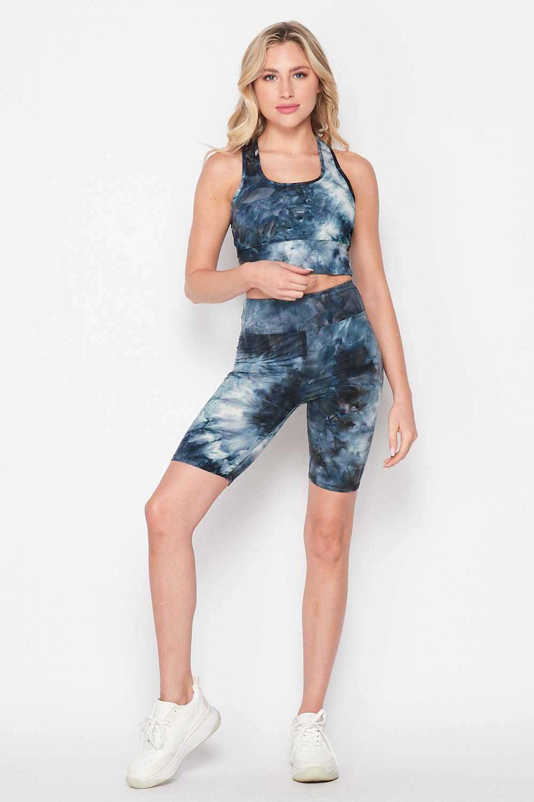 Navy Tie Dye 2 Piece High Waisted Biker Shorts and Crop Top Set