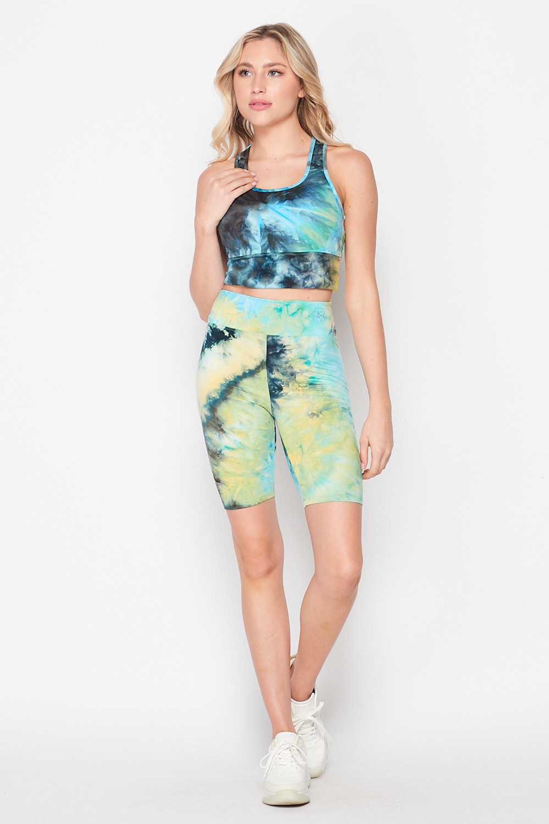 Blue Tie Dye 2 Piece High Waisted Biker Shorts and Crop Top Set