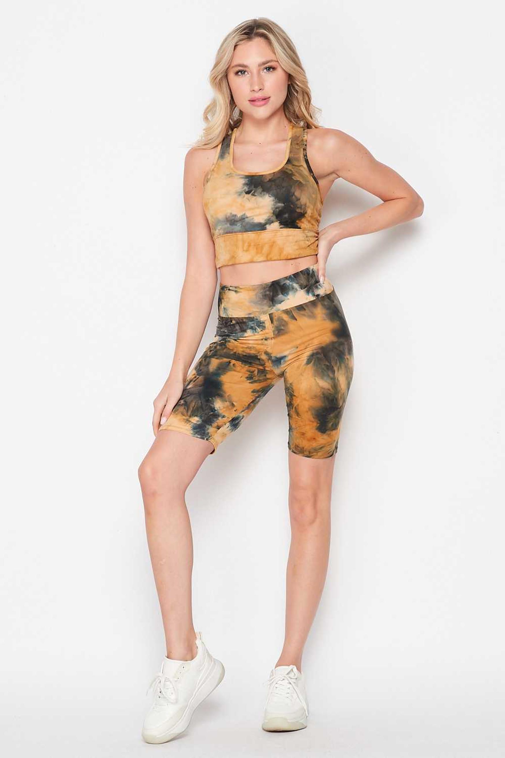 Camel Tie Dye 2 Piece High Waisted Biker Shorts and Crop Top Set