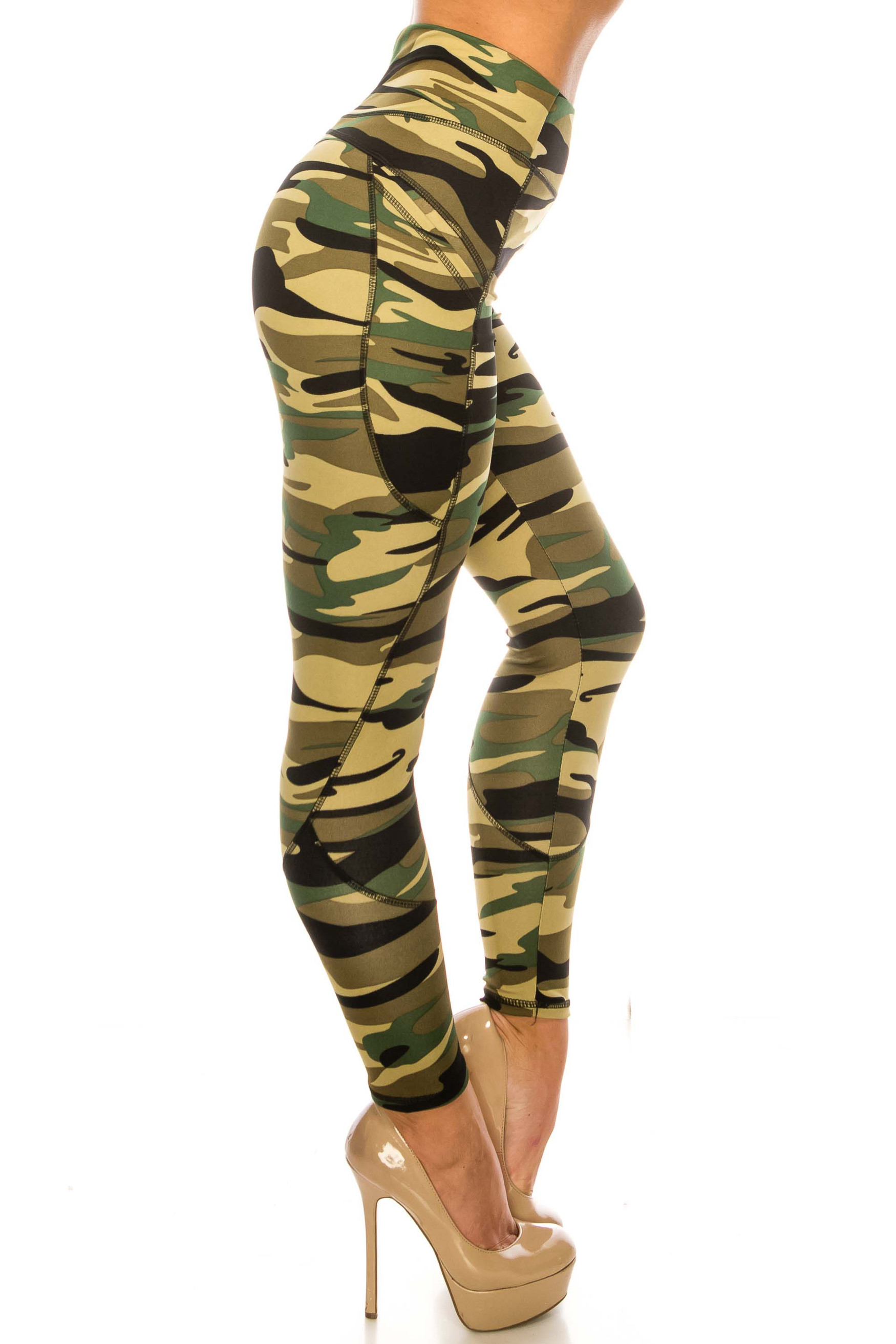 Green Camouflage Contour Seam High Waisted Sport Leggings with Pockets
