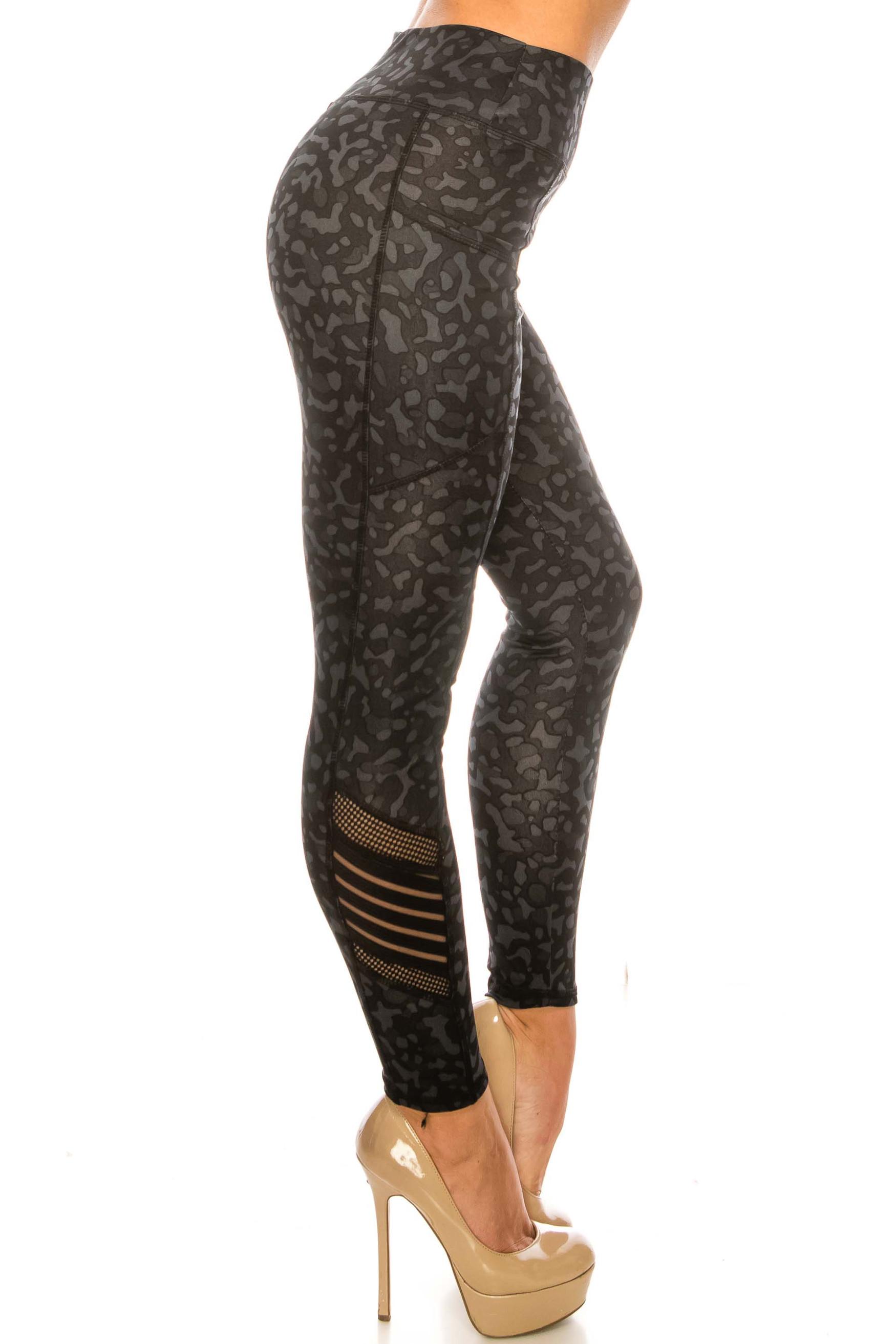 Black Leopard Serrated Mesh High Waisted Sport Leggings