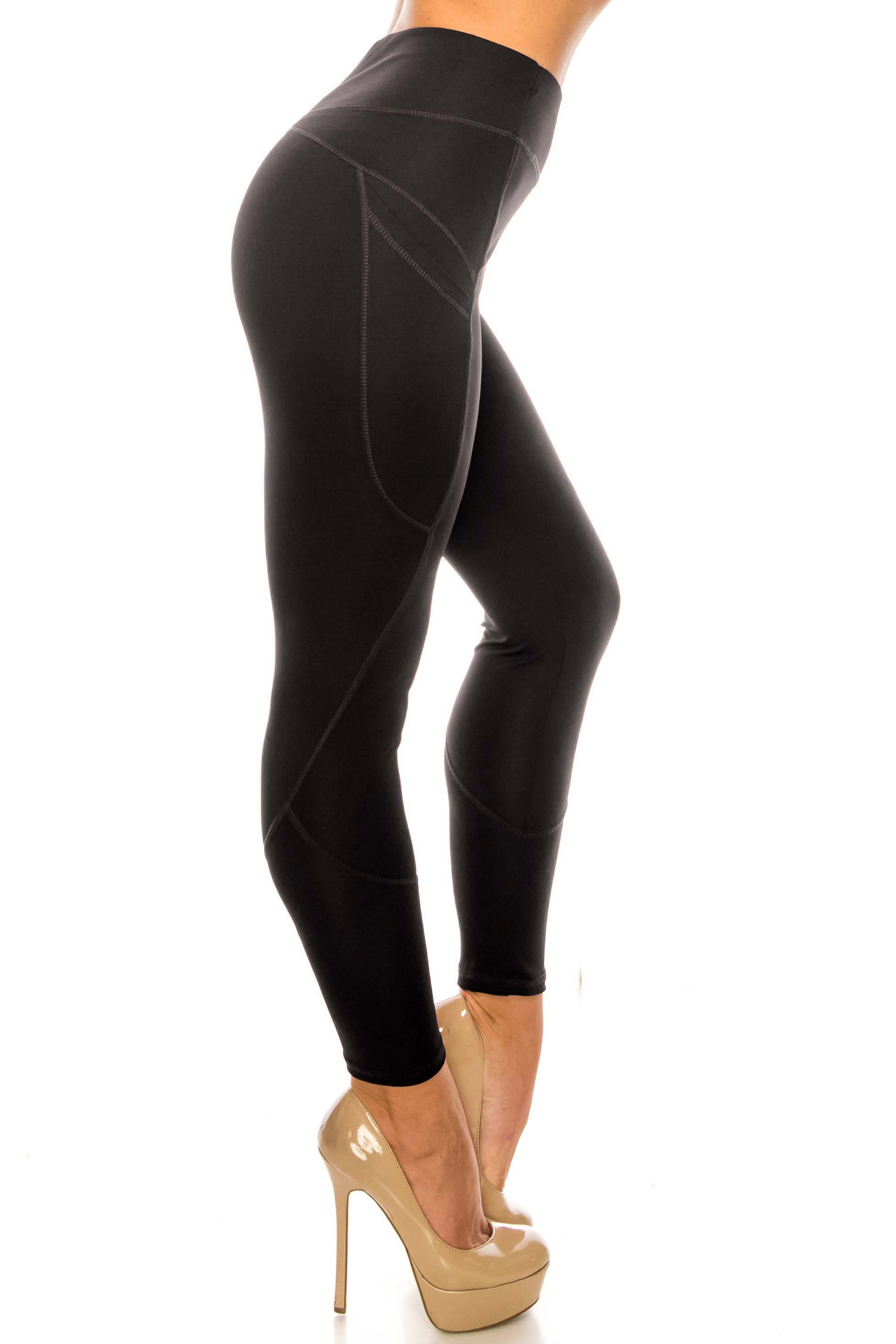 Solid Black Contour Seam High Waisted Sport Leggings with Pockets
