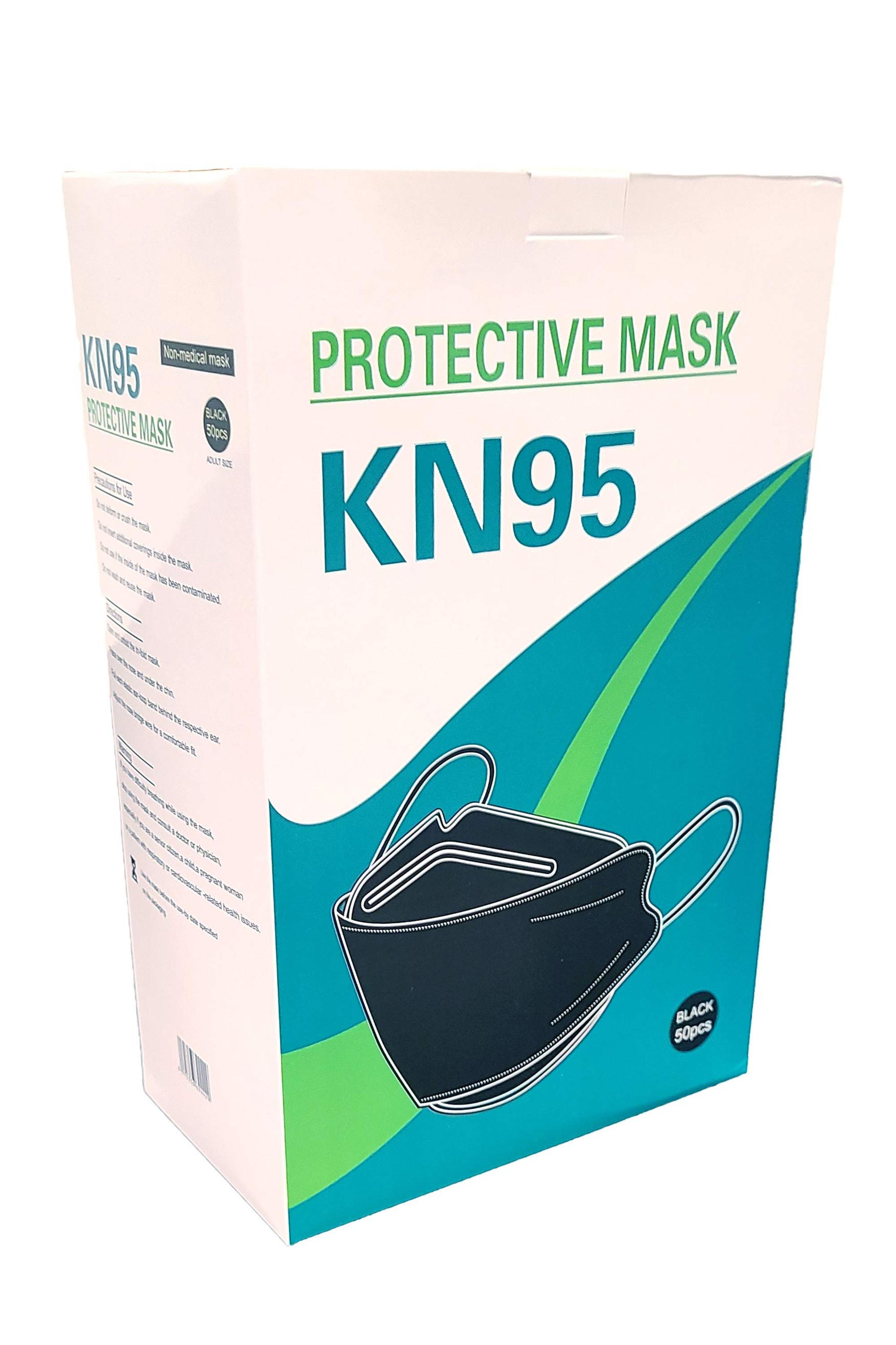 KN95 Black Face Masks - 50 Pack - Open Design