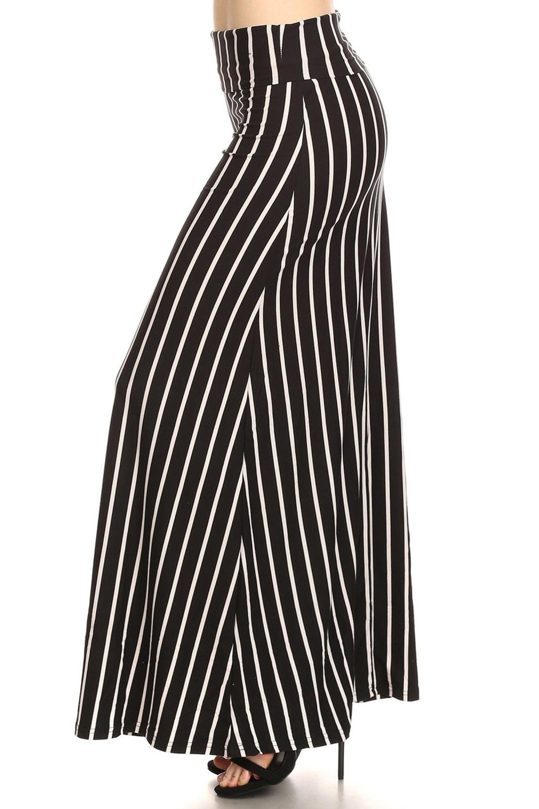 Black Pinstripe Plus Size Buttery Soft Maxi Skirt