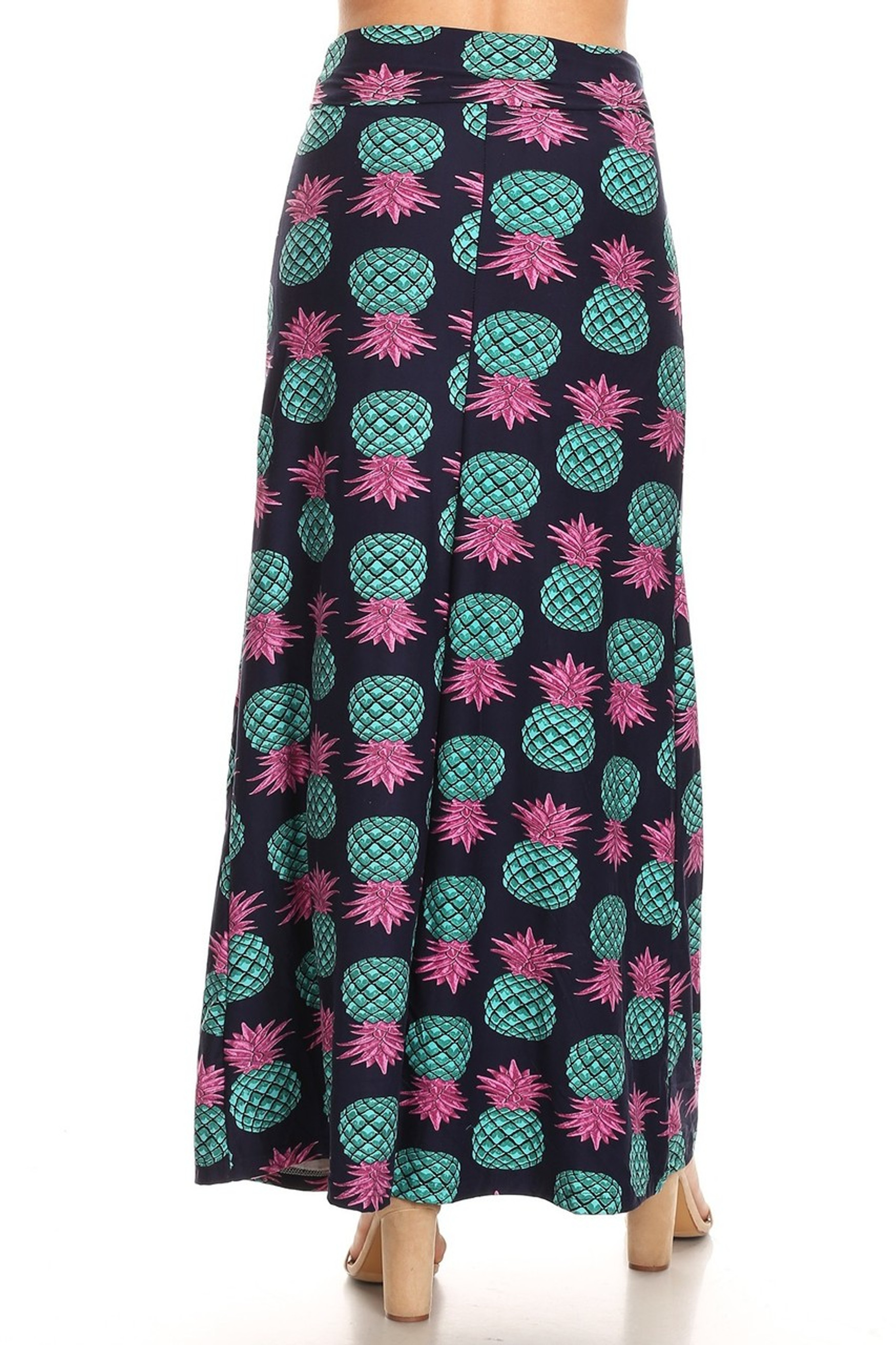Teal Pineapple Plus Size Buttery Soft Maxi Skirt