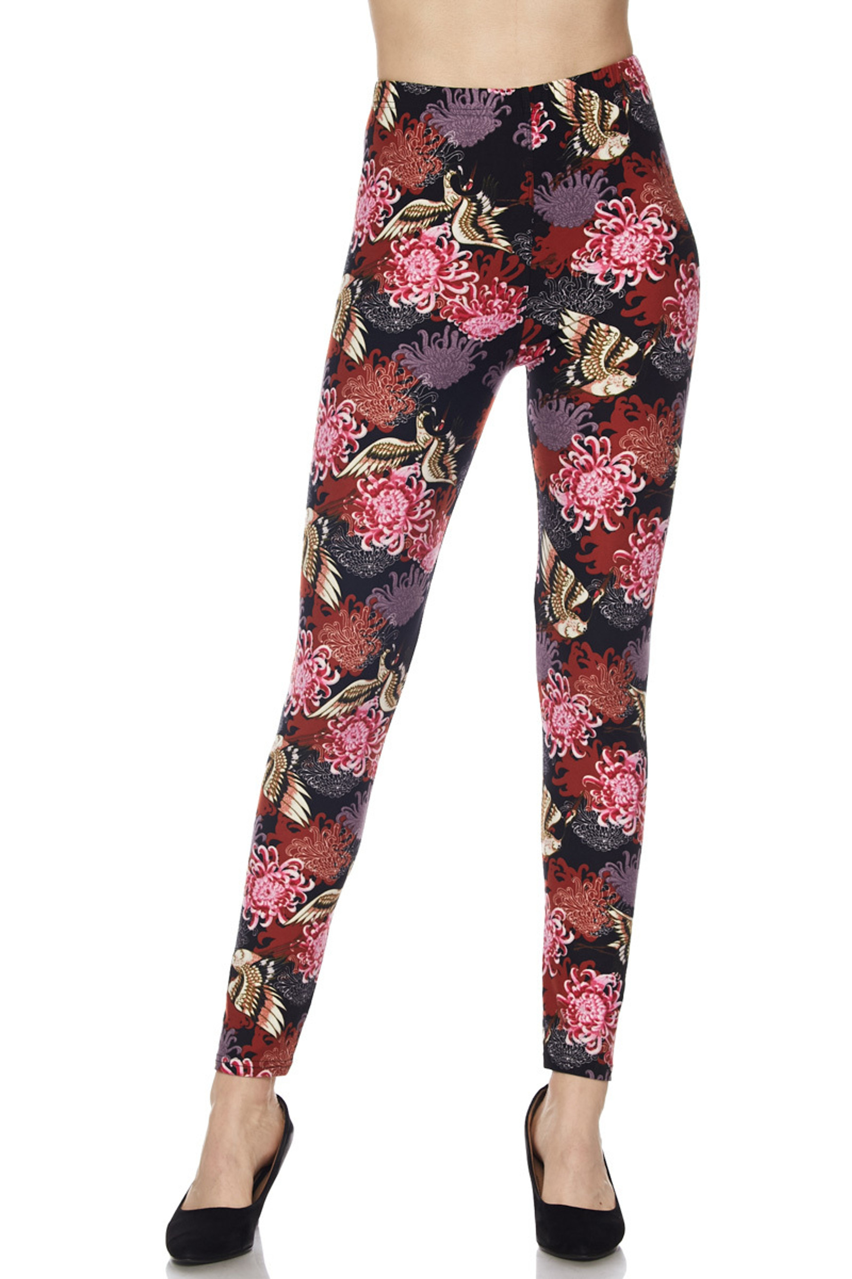 Cranes and Chrysanthemums Buttery Soft Leggings