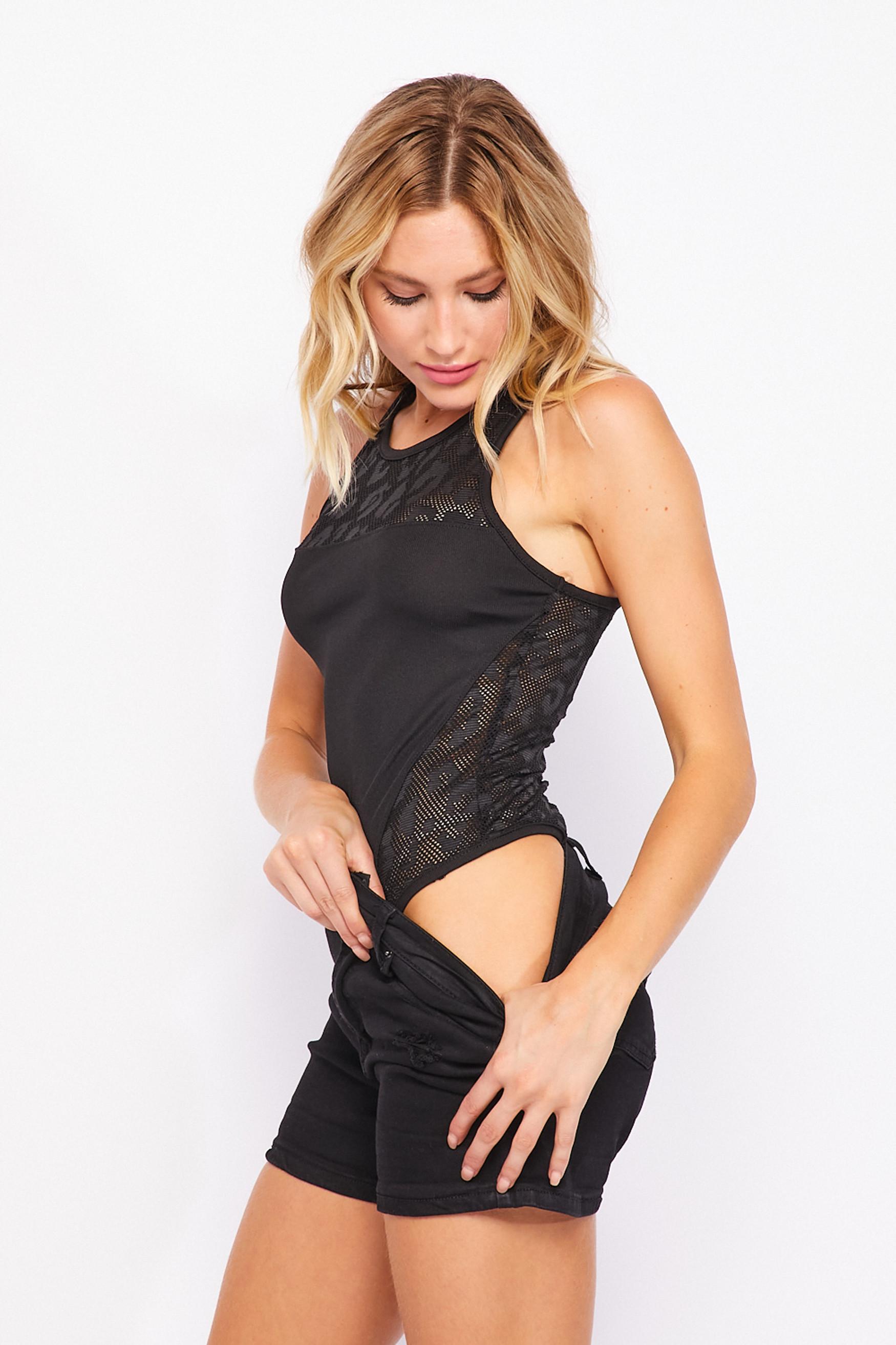 Black Leopard Mesh Accented Bodysuit