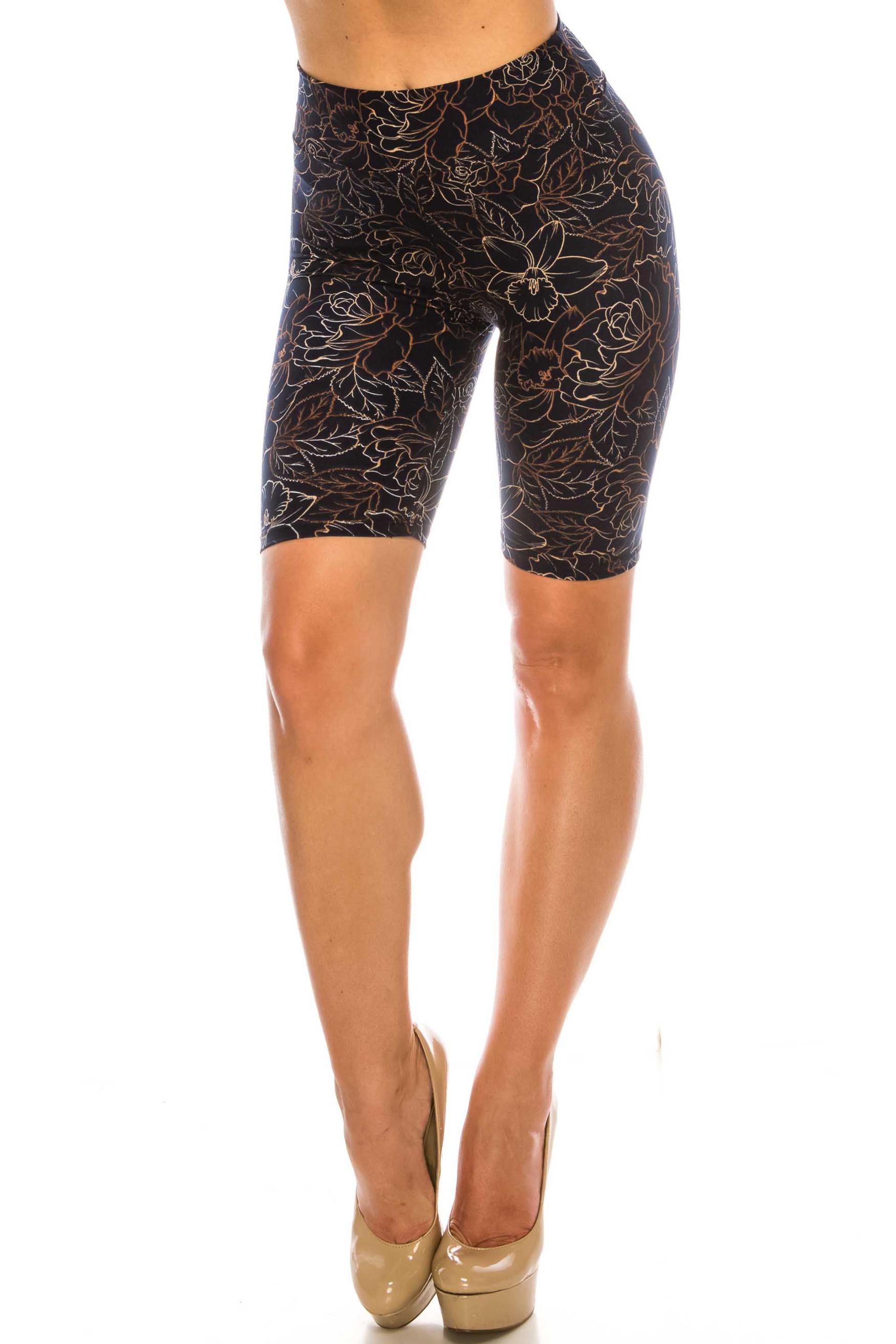 Black Floral Stencil Biker Shorts - 3 Inch Waist Band