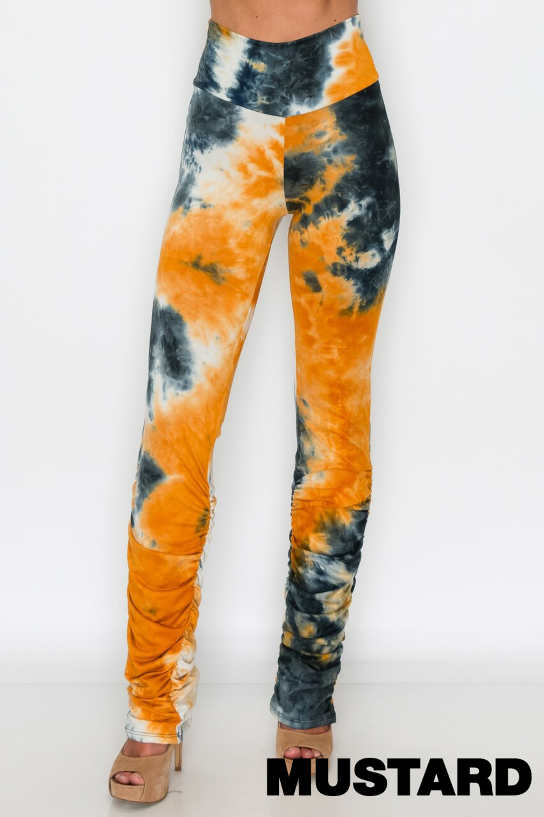 Mustard Double Brushed Tie Dye Side Ruched Stacked High Waisted Buttery Soft Leggings