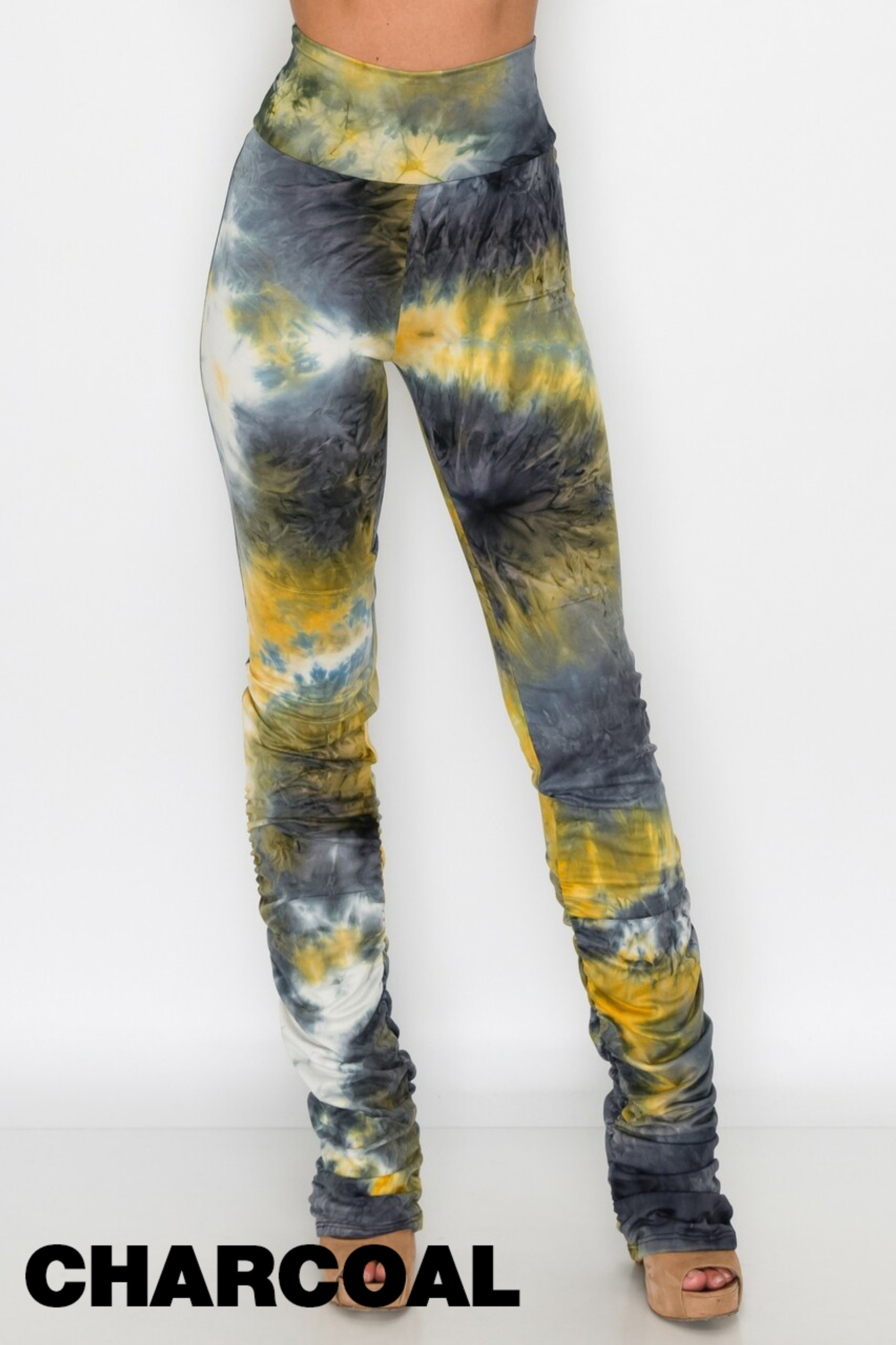 Charcoal Double Brushed Tie Dye Side Ruched Stacked High Waisted Buttery Soft Leggings