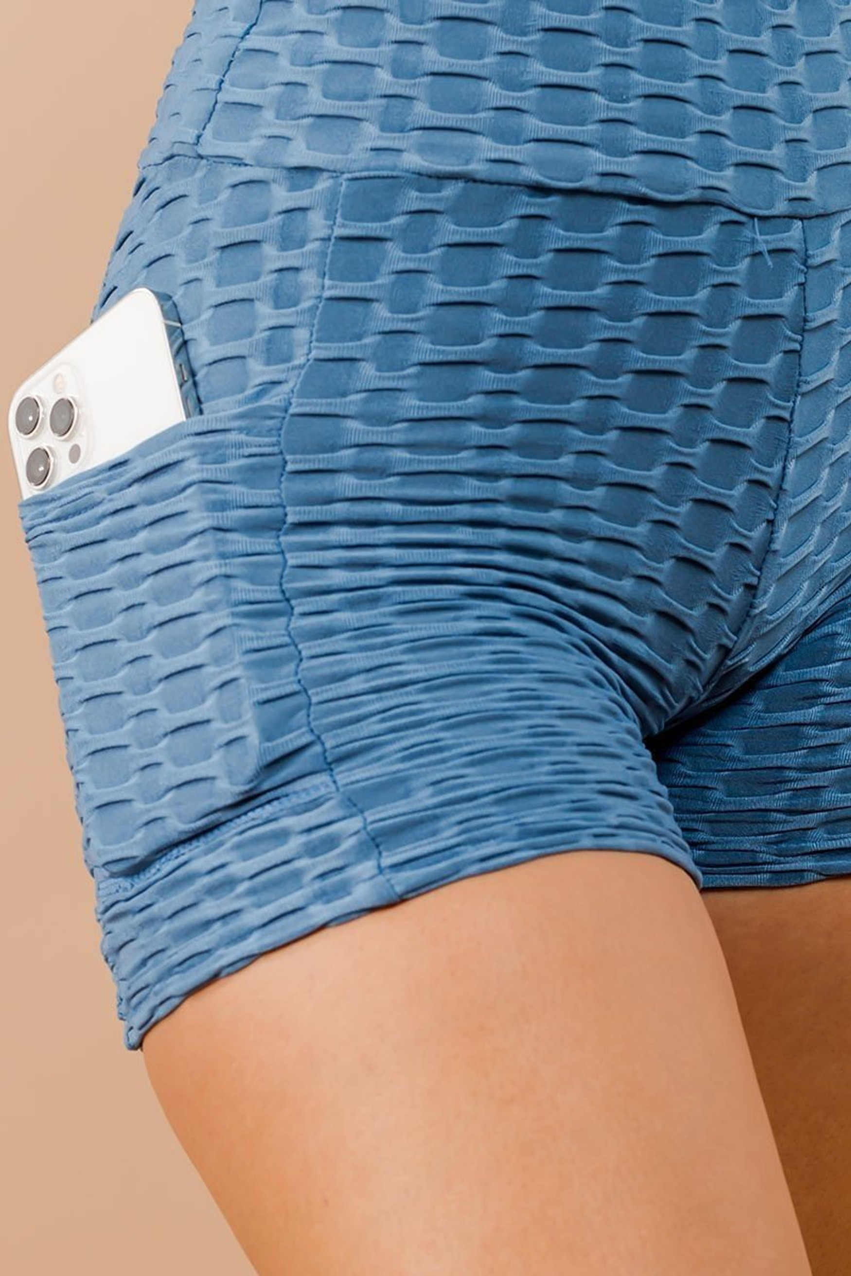 Sky Blue Solid Textured Scrunch Butt Sport Shorts with Pockets