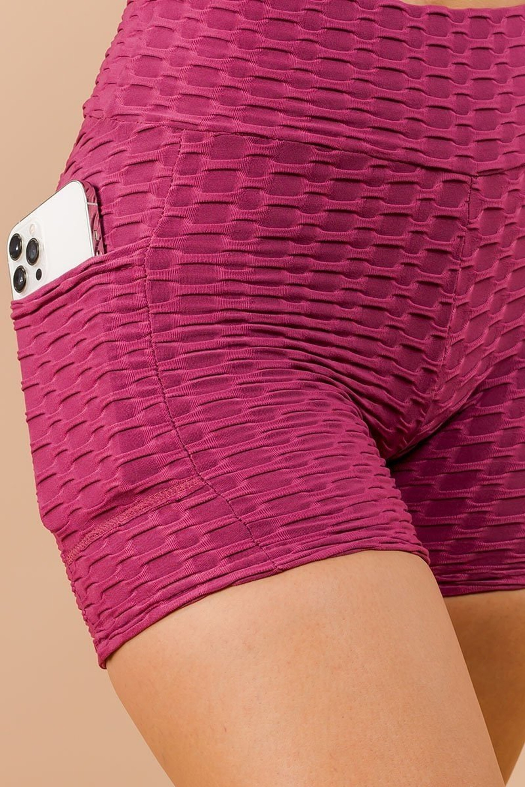 Mauve Solid Textured Scrunch Butt Sport Shorts with Pockets