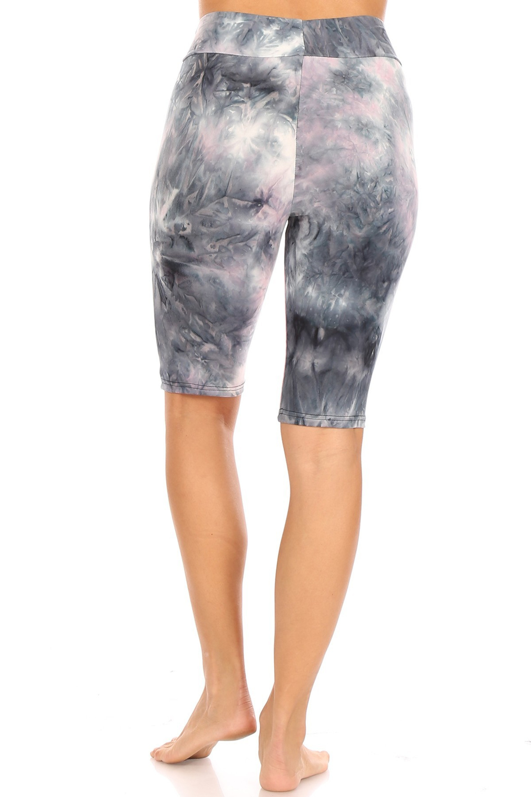Pink / Charcoal Brushed Tie Dye High Waisted Biker Shorts