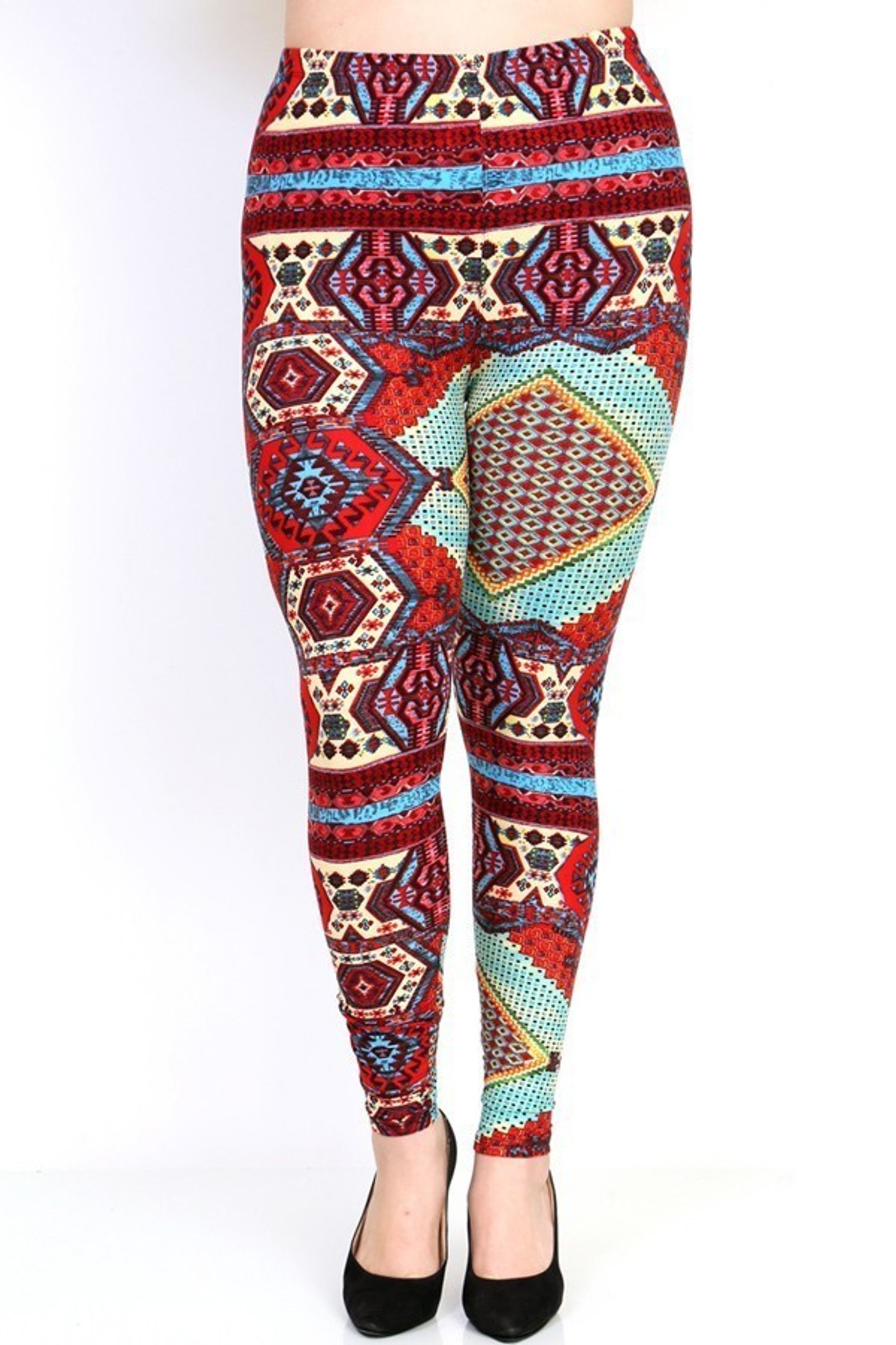 Red Tribal Patch Plus Size Buttery Soft Leggings