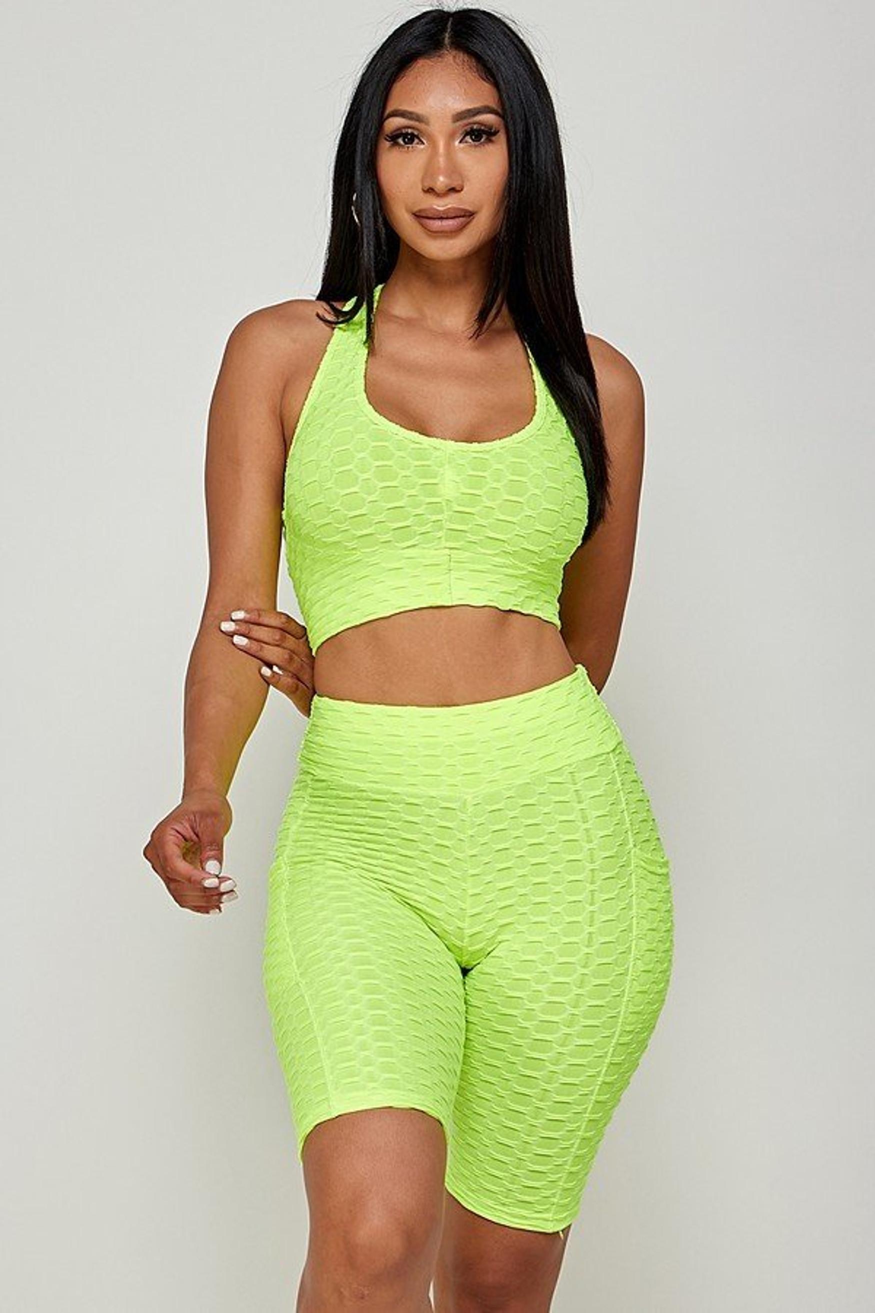 Neon Green 2 Piece Scrunch Butt Biker Shorts and Crisscross Crop Top Set