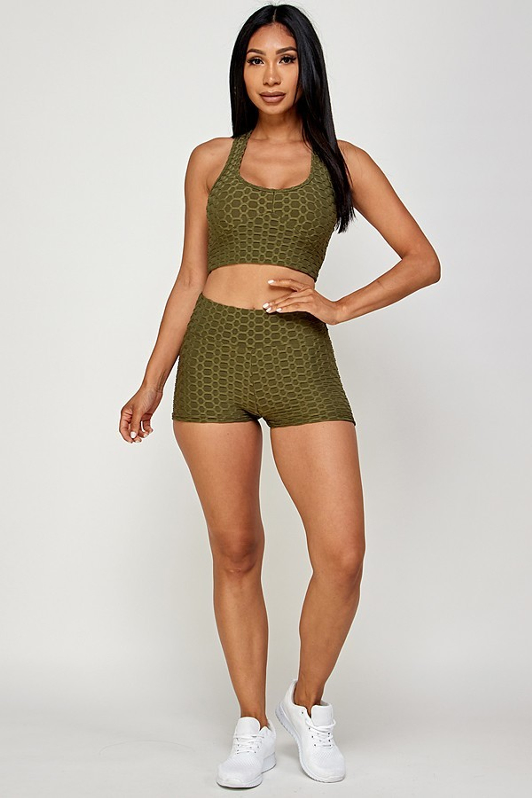 Olive  2 Piece Scrunch Butt Shorts and Crisscross Crop Top Set