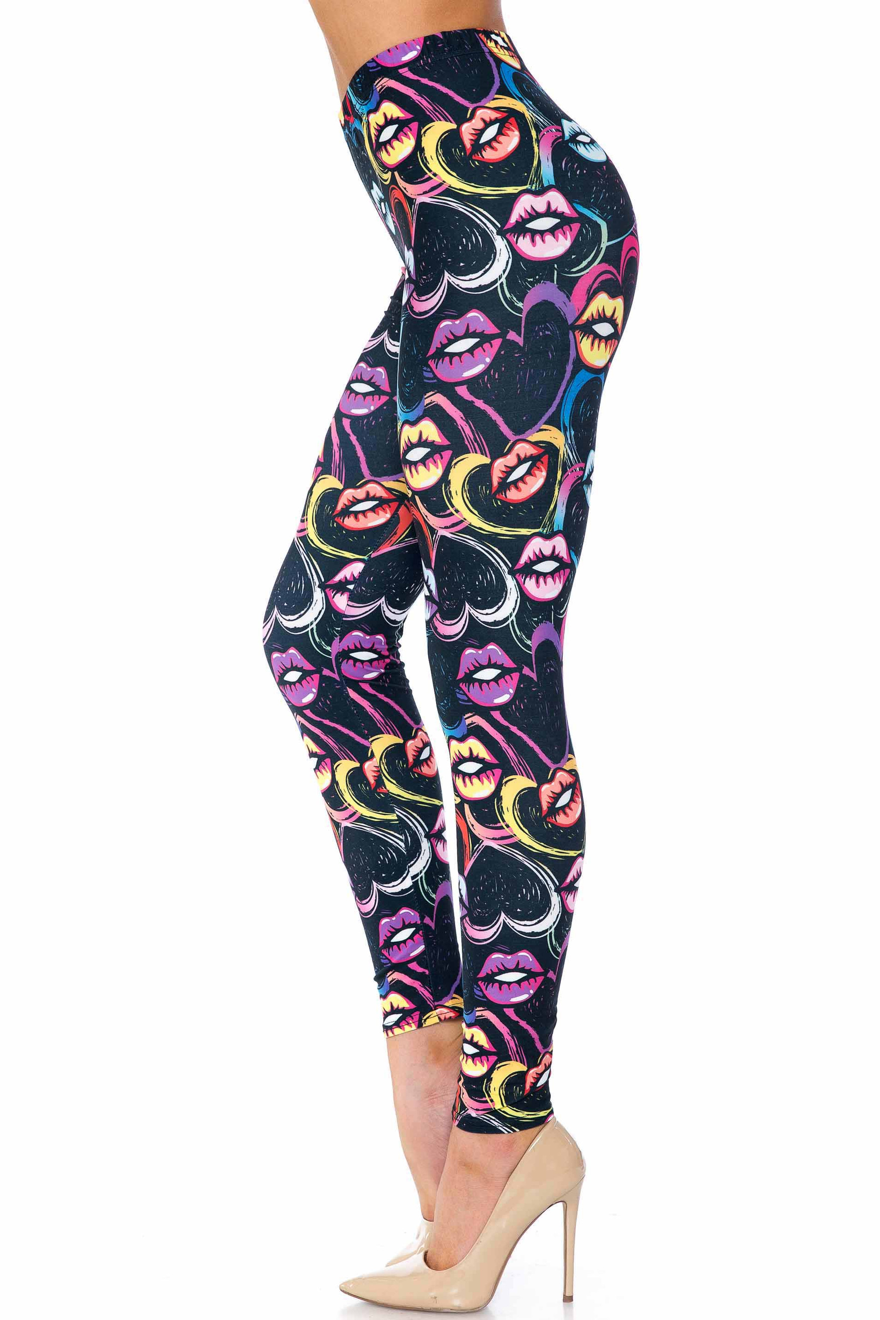 Colorful Lips and Hearts Extra Plus Size Leggings - 3X-5X - USA Fashion™