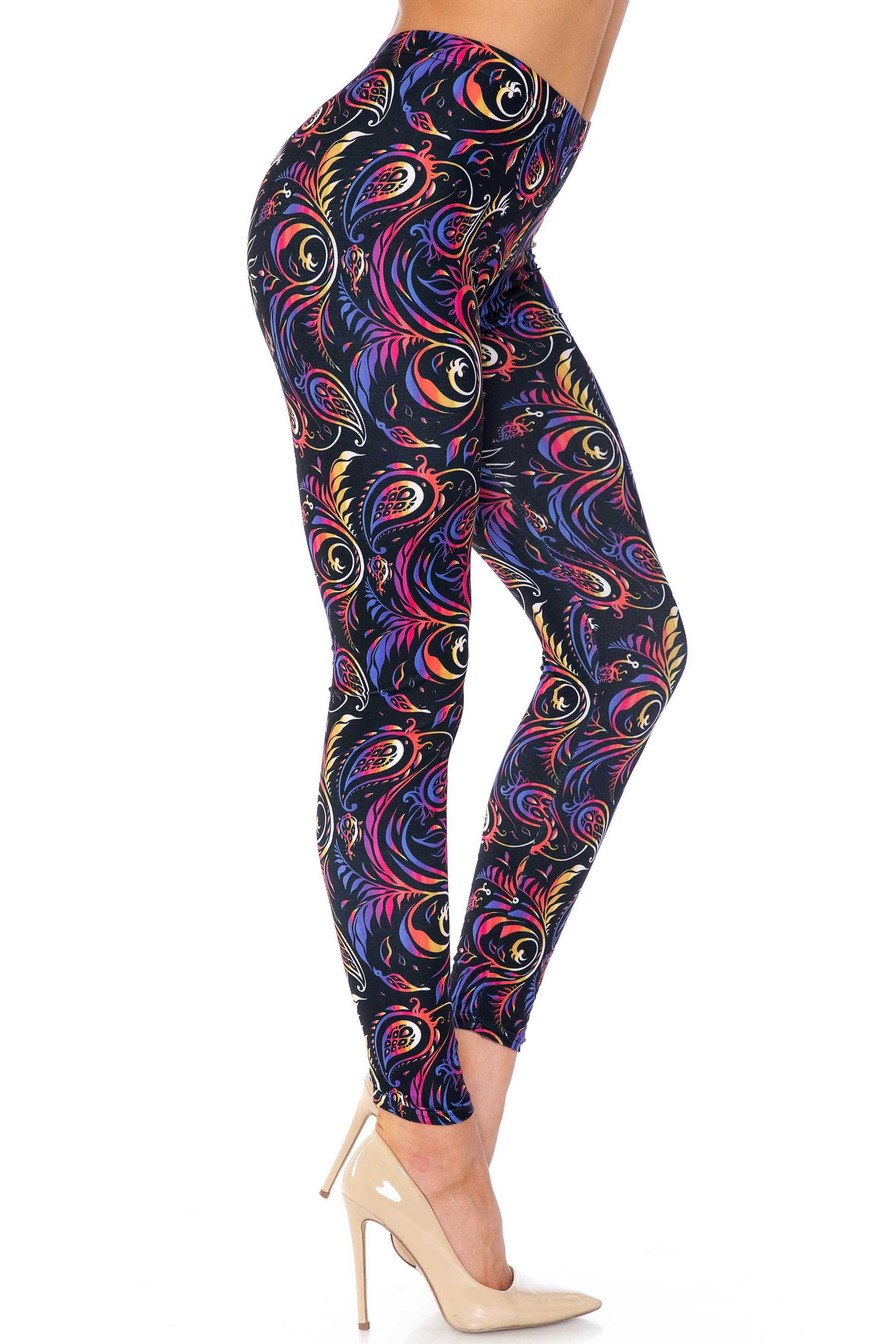 Creamy Soft Ombre Paisley Swirl Plus Size Leggings - USA Fashion™