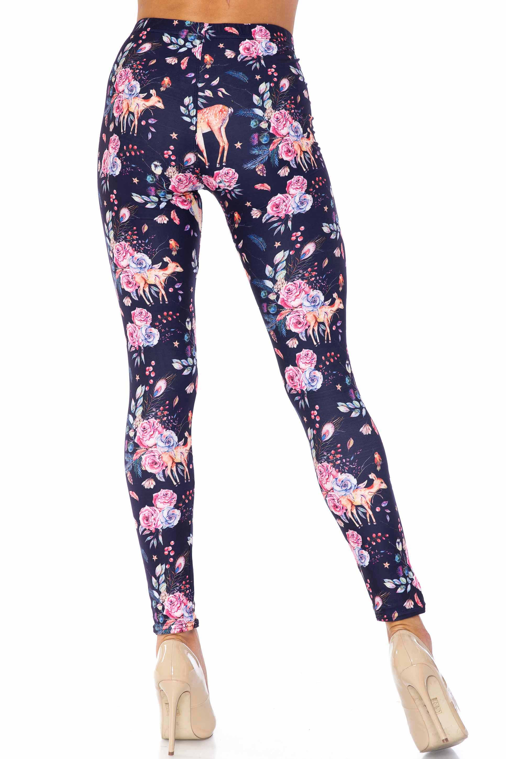 Creamy Soft Woodland Floral Fawn Extra Plus Size Leggings - 3X-5X - USA Fashion™