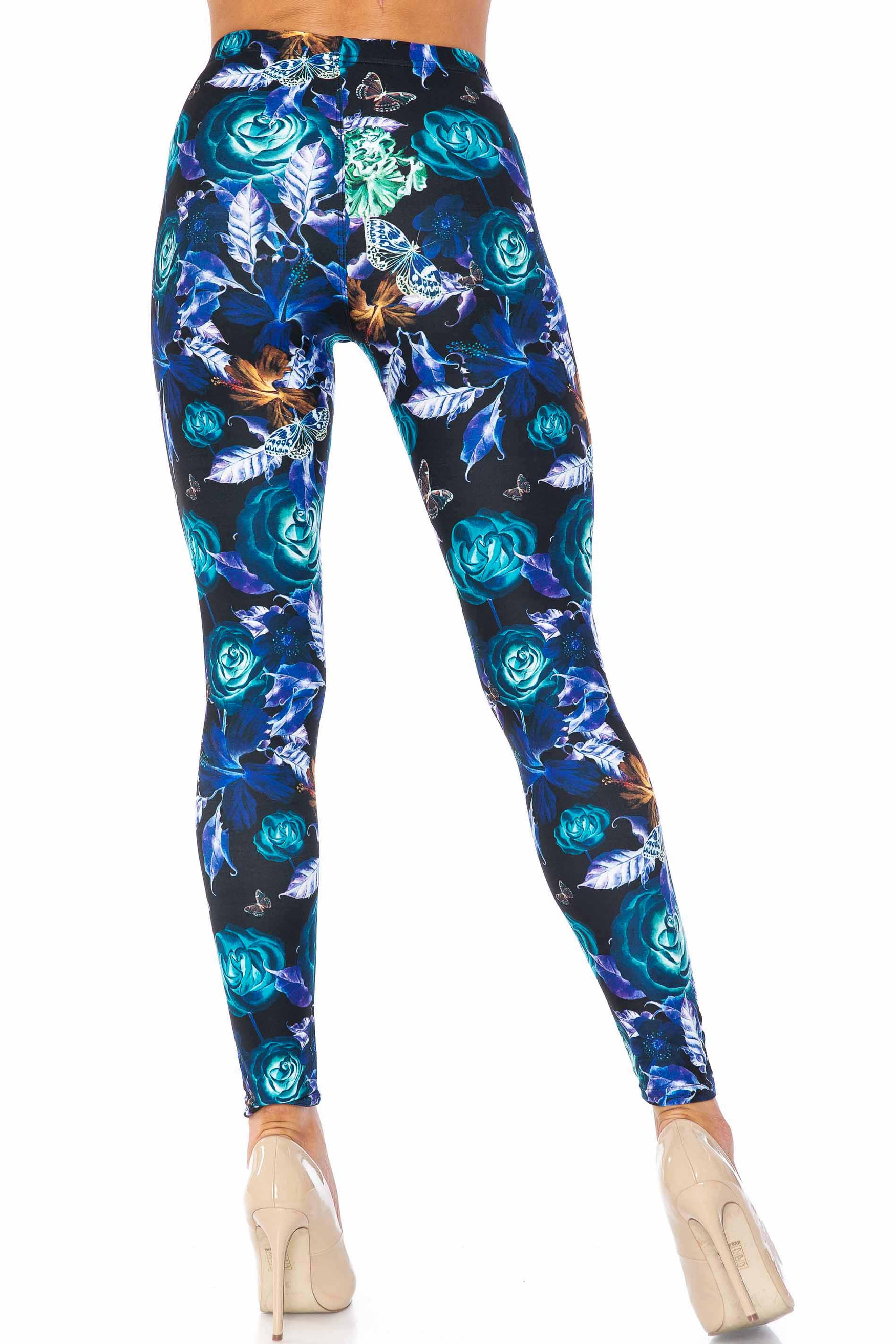Creamy Soft Electric Blue Floral Butterfly Kids Leggings - USA Fashion™