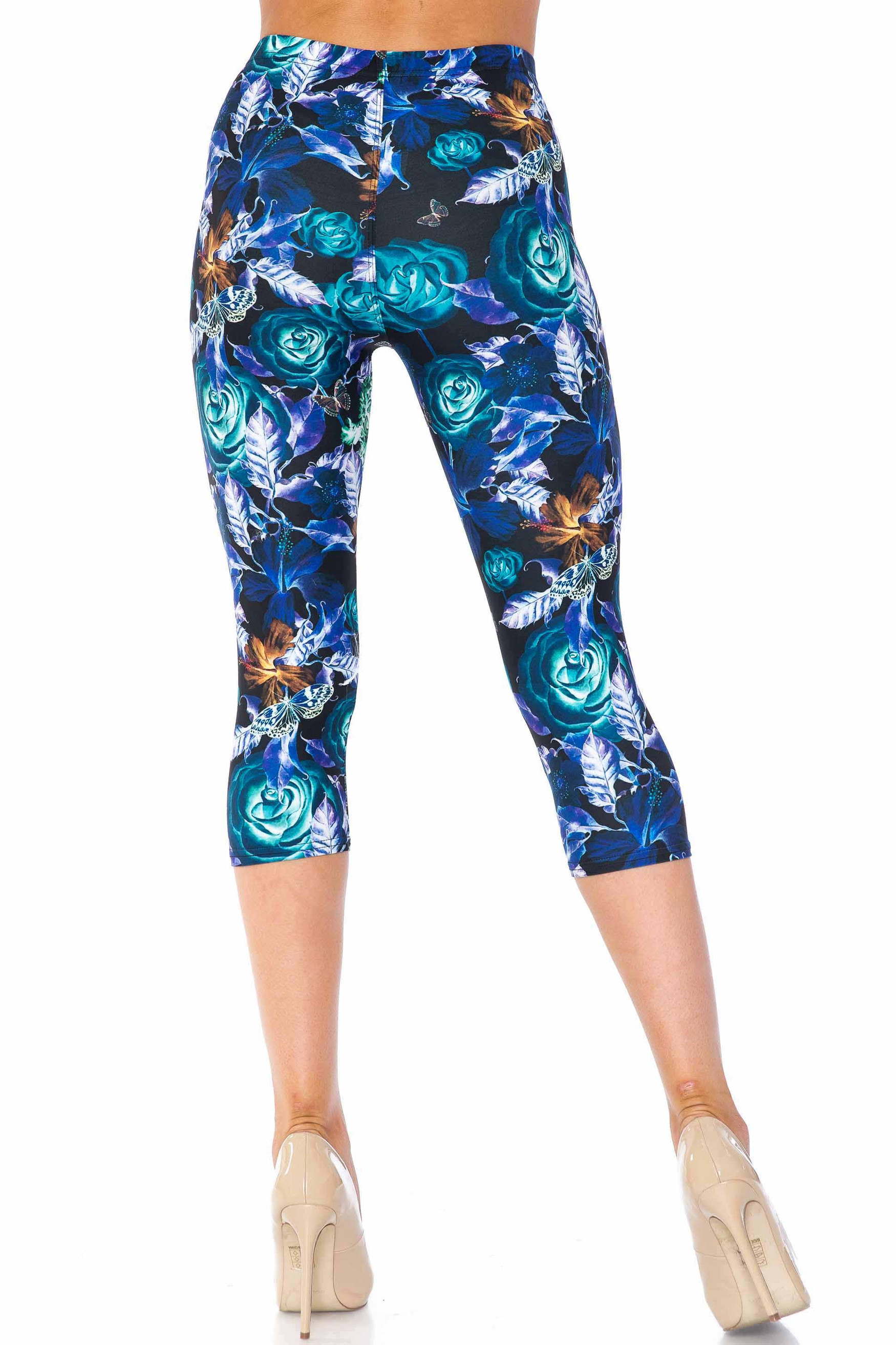 Creamy Soft Electric Blue Floral Butterfly Capris - USA Fashion™