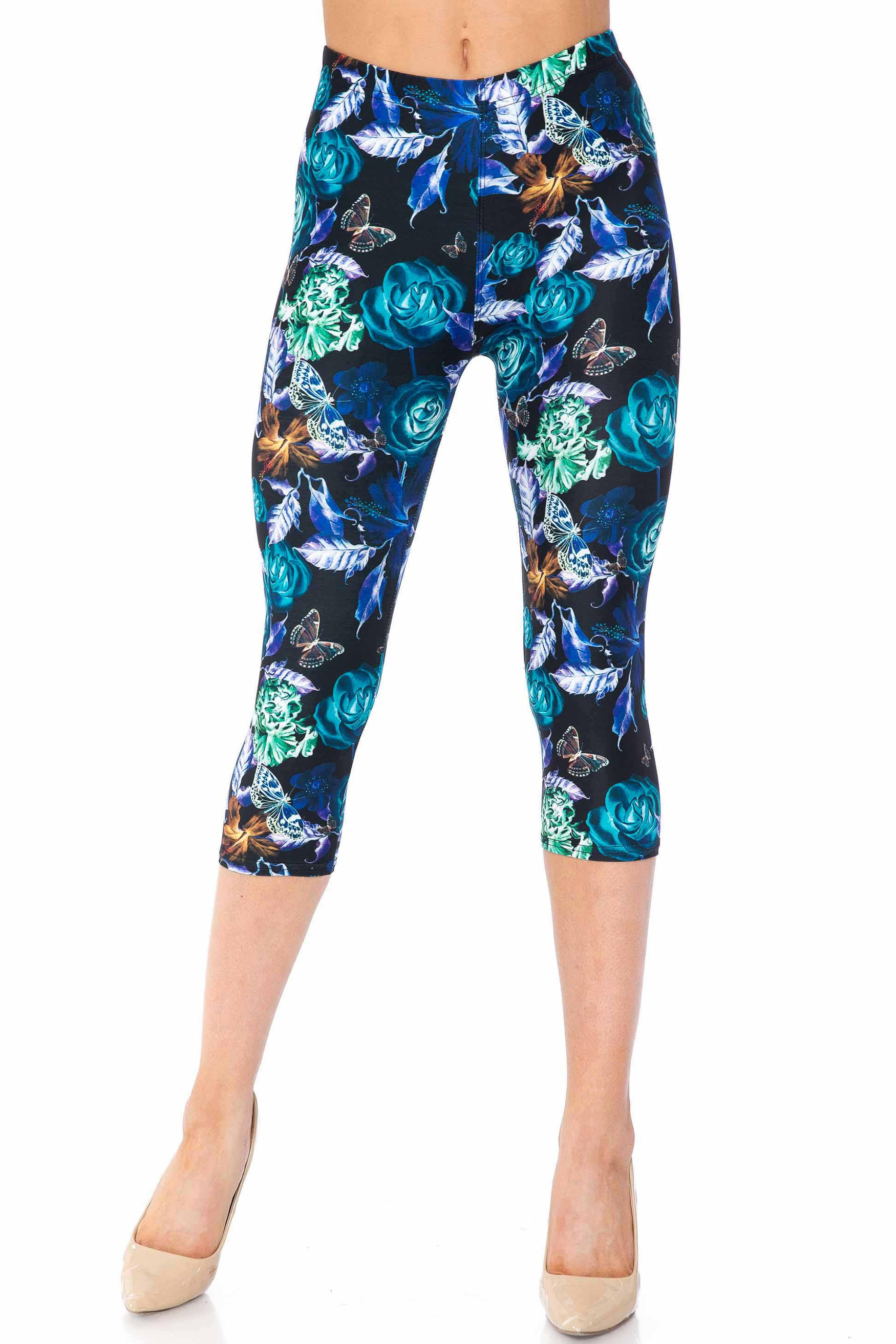 Creamy Soft Electric Blue Floral Butterfly Extra Plus Size Capris - 3X-5X - USA Fashion™