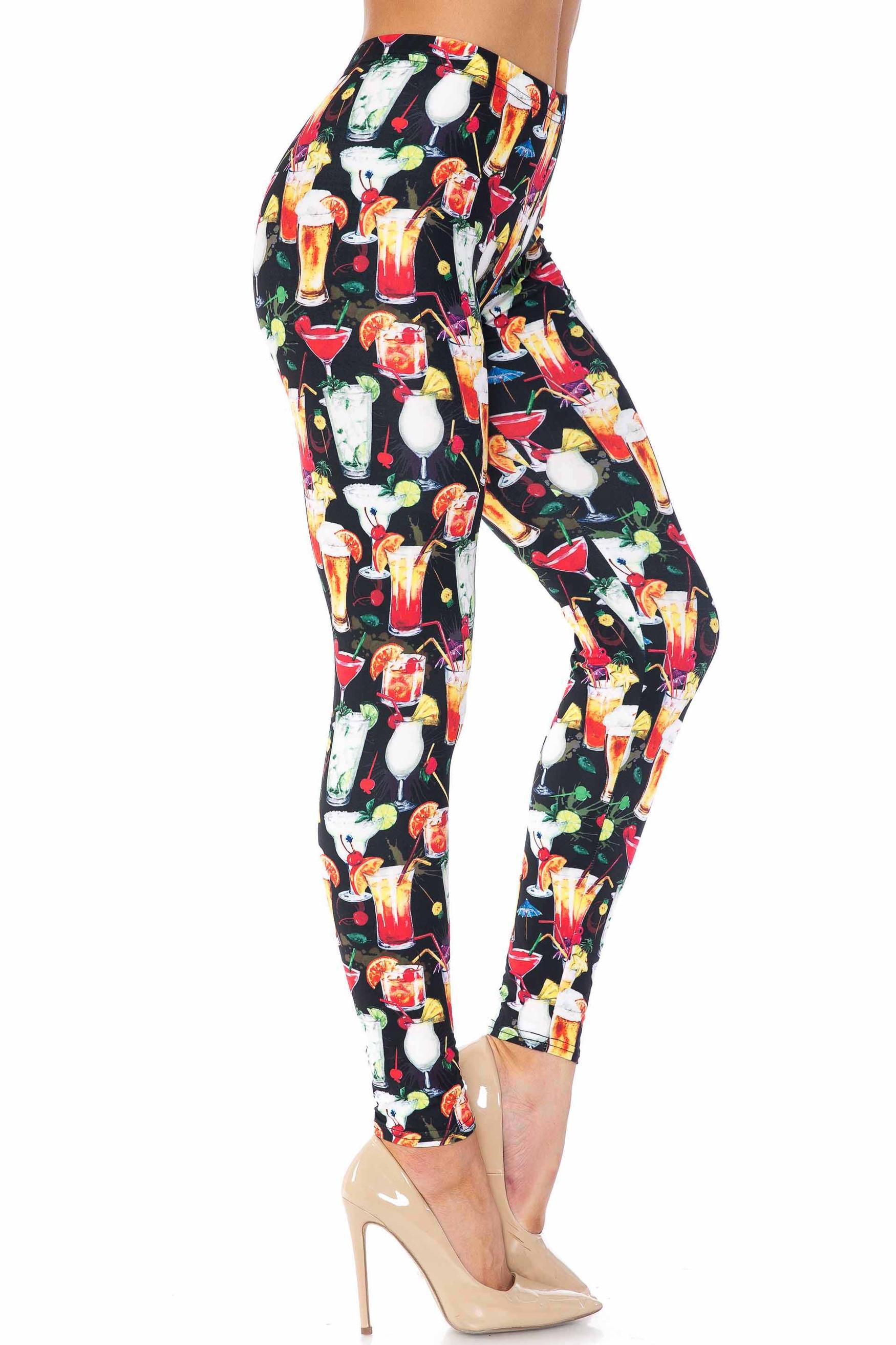 Creamy Soft Tropical Cocktails Extra Plus Size Leggings - 3X-5X - USA Fashion™