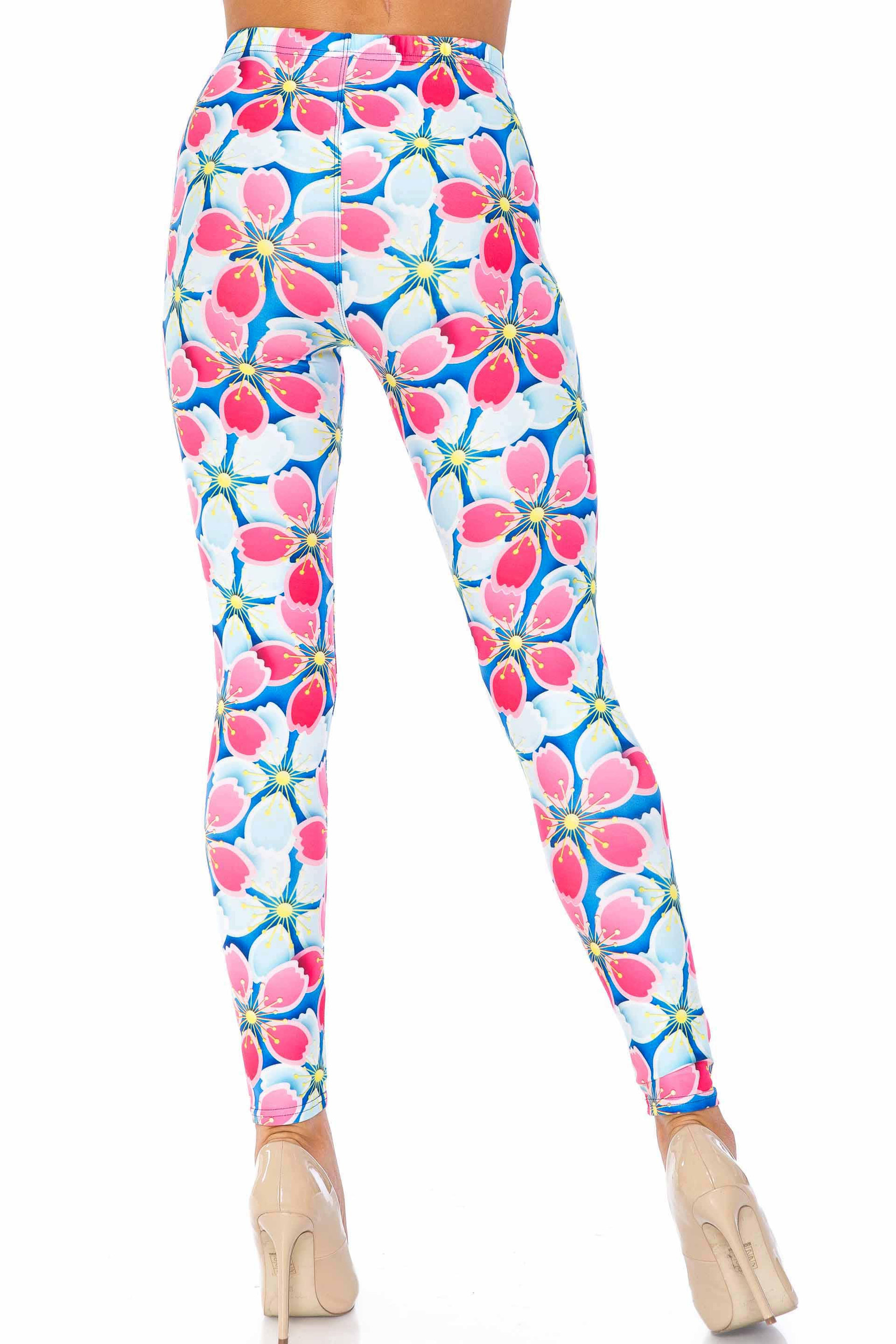 Creamy Soft Pink and Blue Sunshine Floral Extra Plus Size Leggings - 3X-5X - USA Fashion™