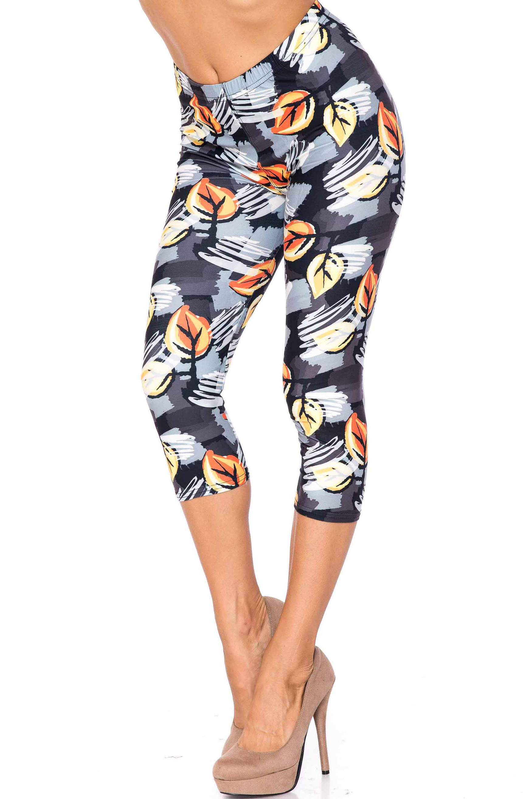 Creamy Soft Orange Leaf Breeze Extra Plus Size Capris - 3X-5X - USA Fashion™