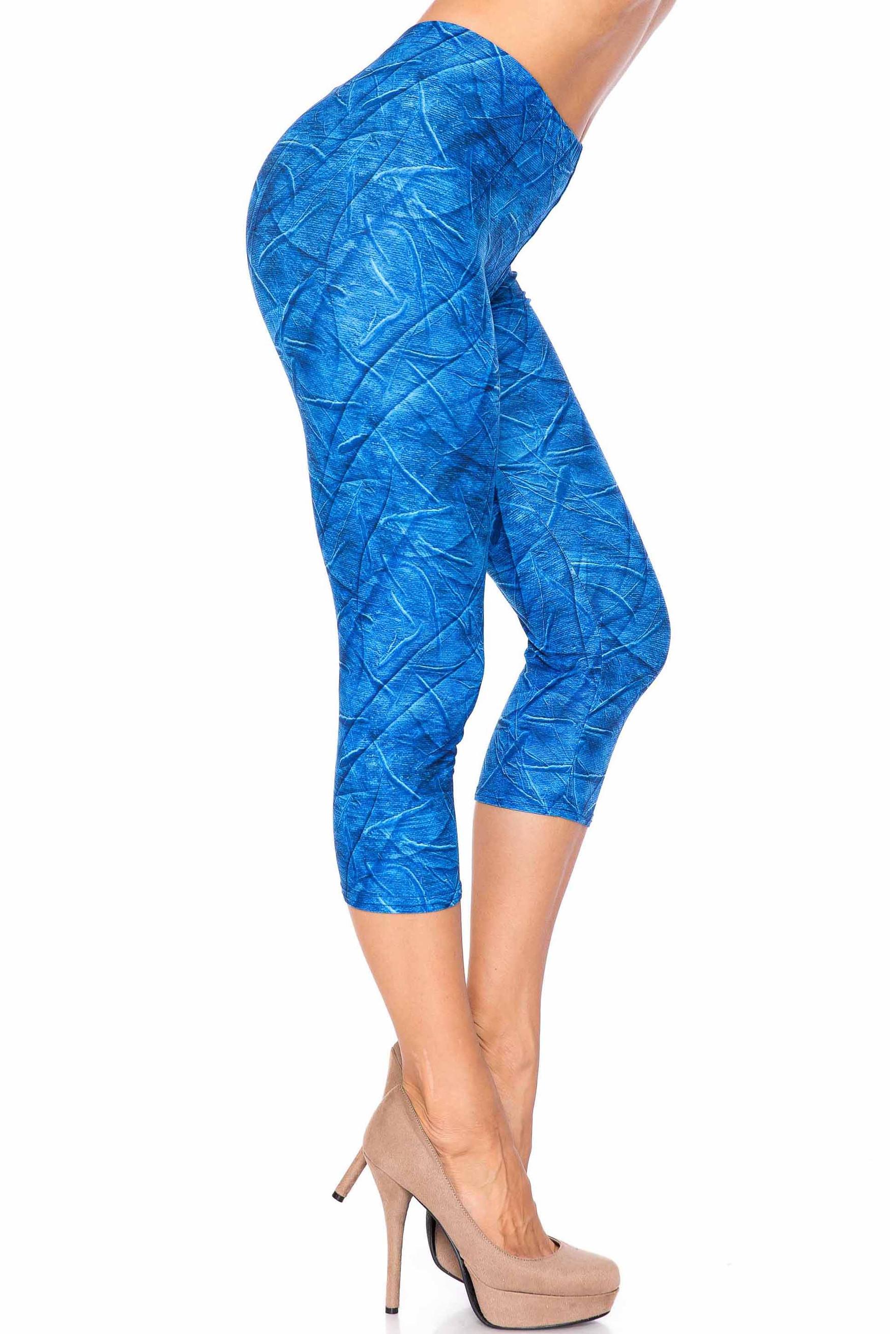 Creamy Soft Blue Wrinkled Denim Capris - USA Fashion™