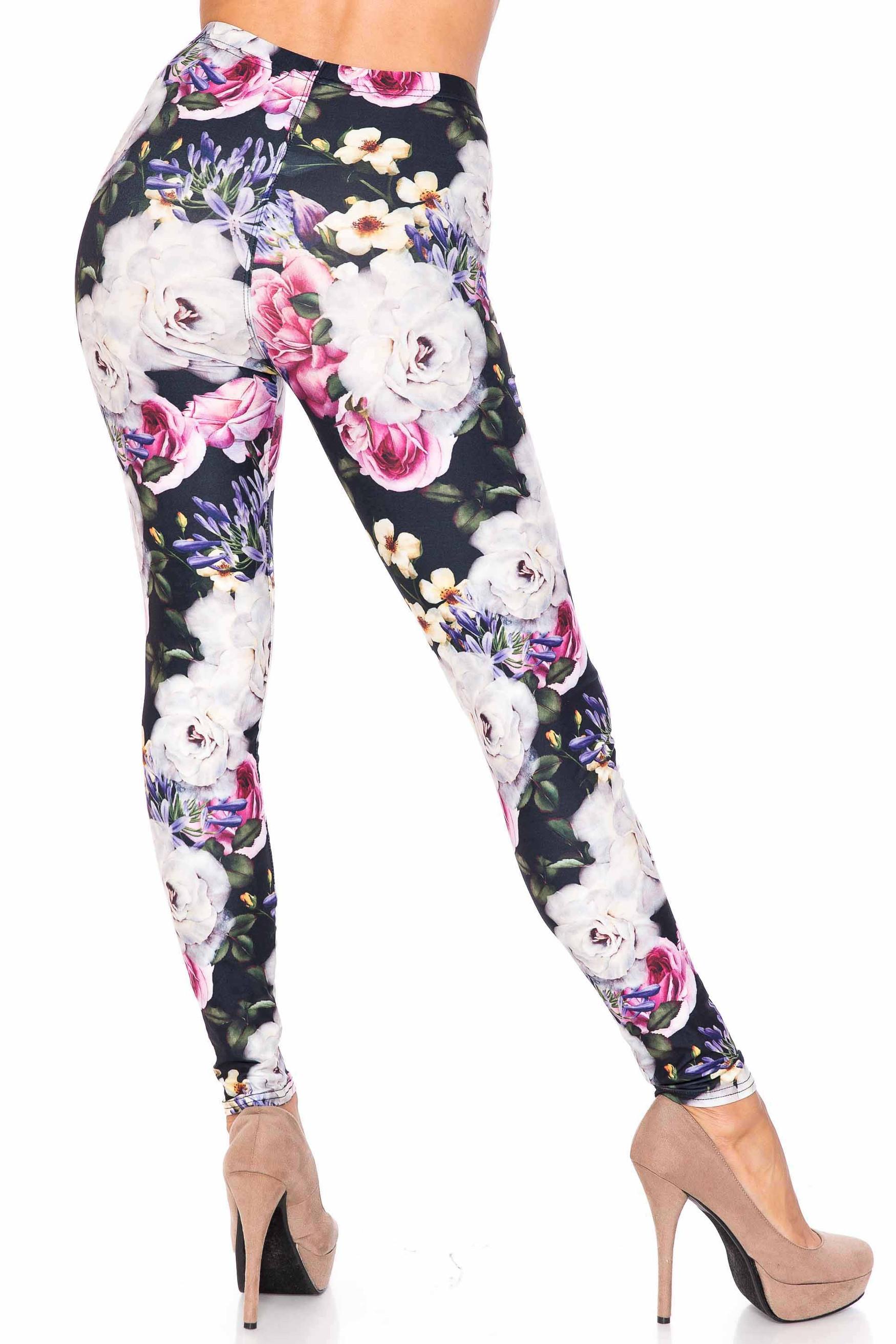 Creamy Soft Floral Garden Bouquet Leggings - USA Fashion™